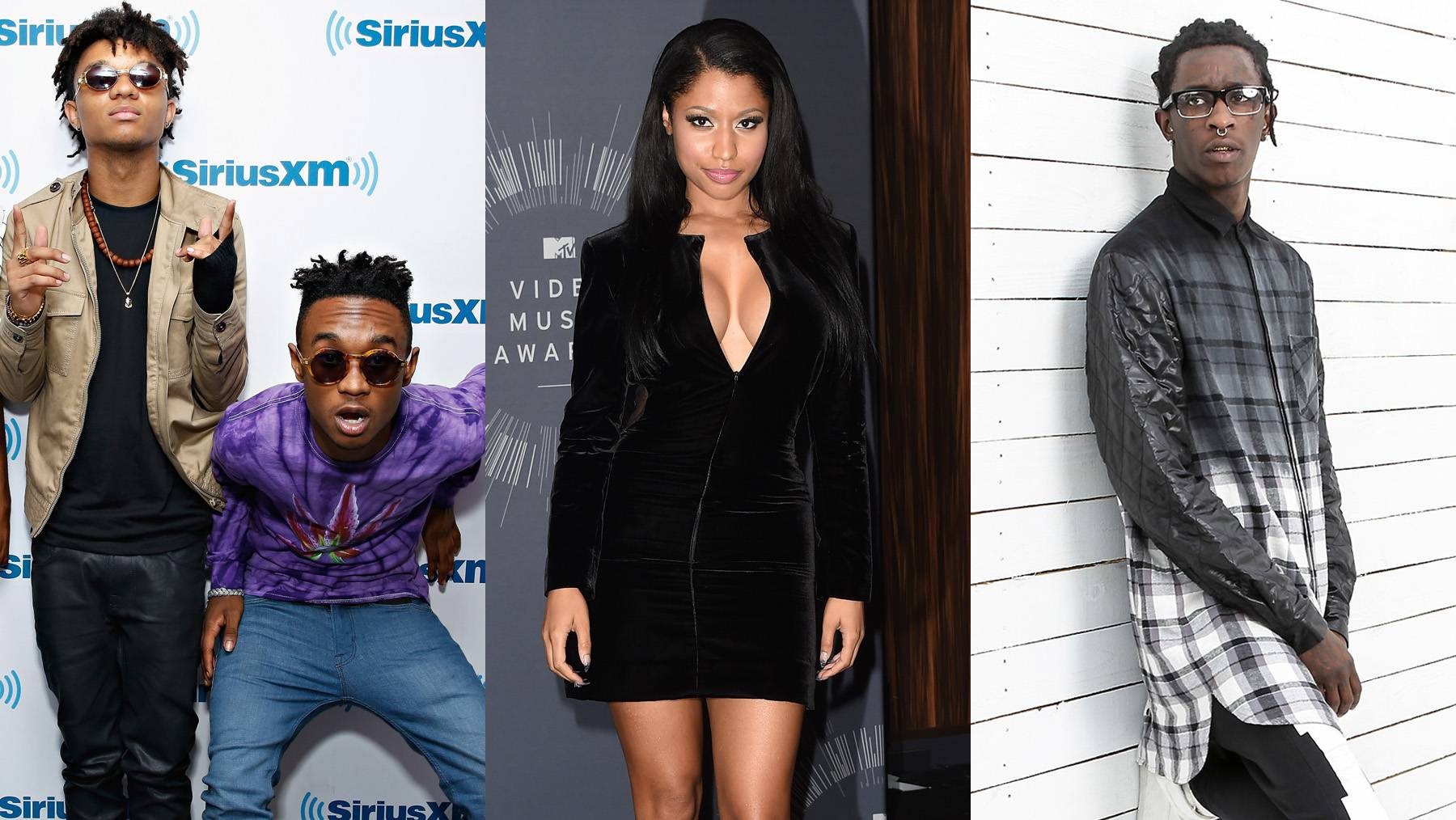 """'Throw Sum Mo,' Featuring Nicki MinajandYoung Thug - Nicki Minaj supplies the rain-making hook as Slim Jimmy, Swae Lee and Young Thug make it thunderstorm in the strip clubs. Jimmy busts the track open with, """"Hi, bye hater, I flood the club with paper/Shorty got a a**, some for now, some for later/Somethinglike Nicki's, dancinglike Maliah.""""(Photos from left: Cindy Ord/Getty Images, Jason Merritt/Getty Images for MTV, Roger Kisby/Getty Images)"""