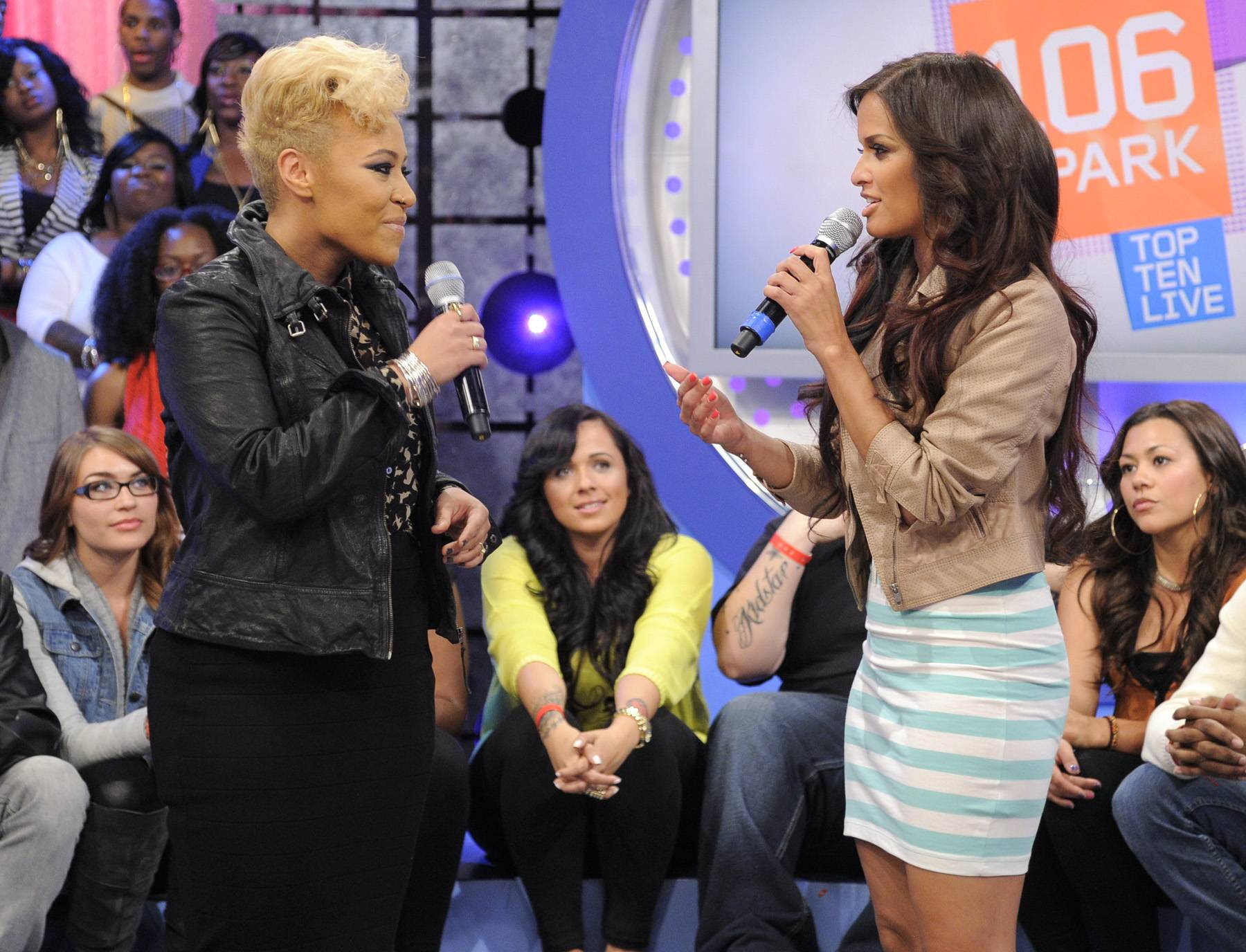 Talking About Her Performance - Emeli Sandetells Rocsi Diaz how she wrote her first song at the age of 10 at 106 & Park, April 23, 2012.(Photo: John Ricard / BET)