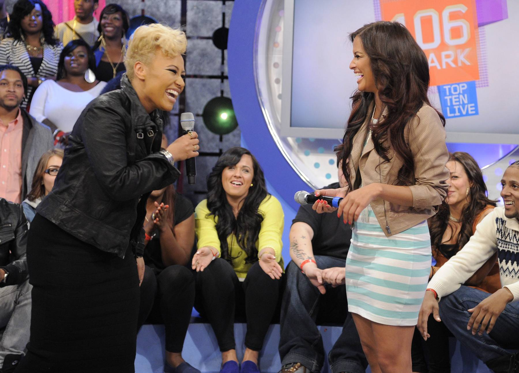 Work It Out - The blonde-haired bombshell also talked with Rocsi about working with Alicia Keys.(Photo: John Ricard/BET)