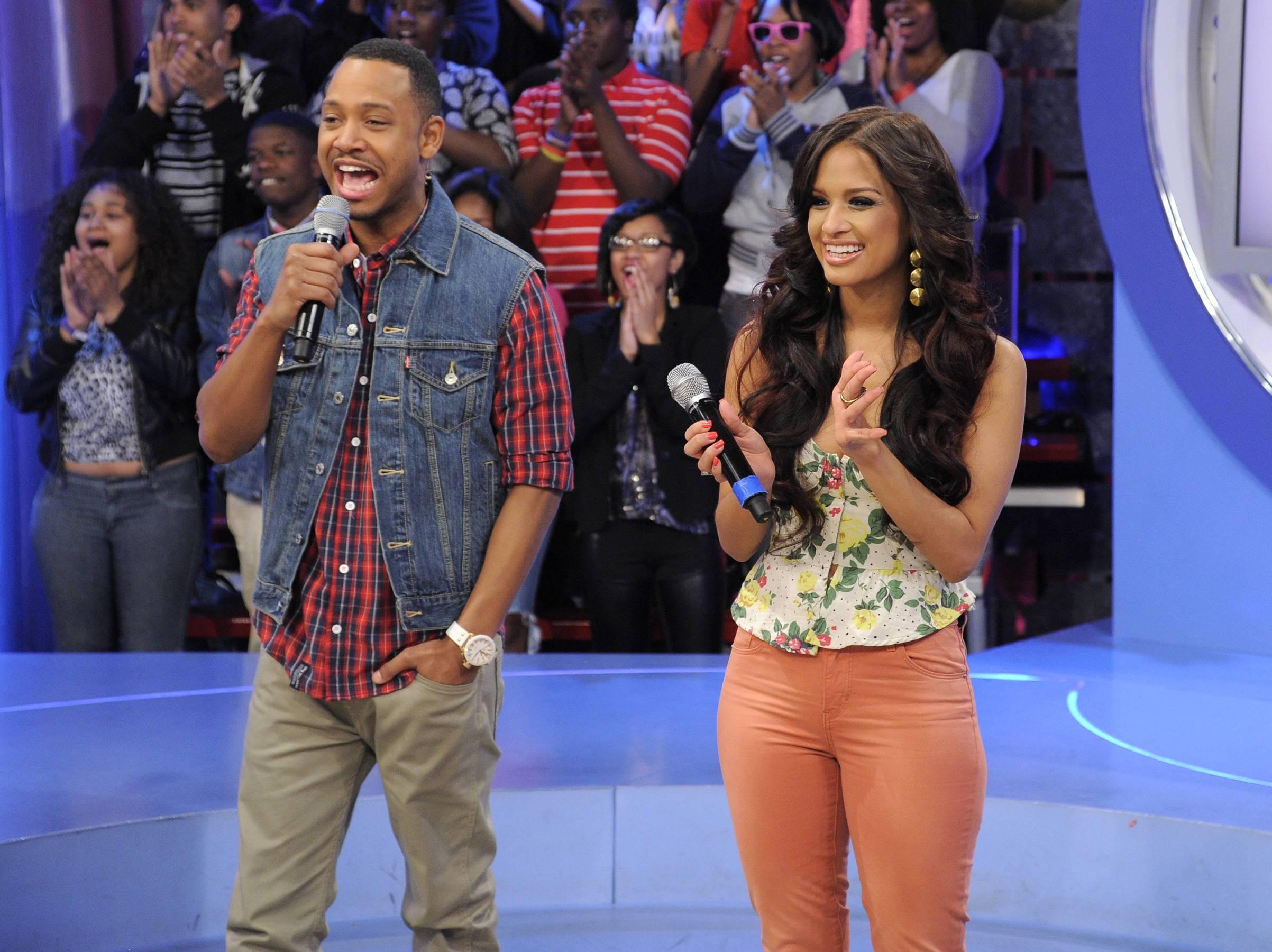 Surprised - Rocsi Diaz and Terrence J at 106 & Park, April 20, 2012. (Photo: John Ricard / BET)
