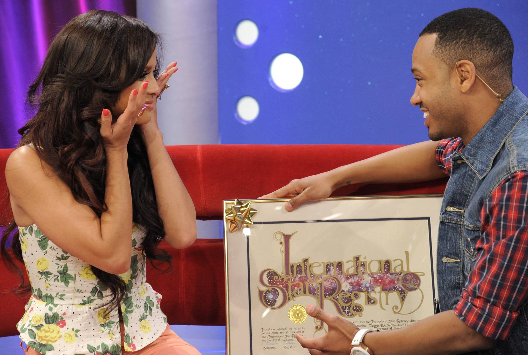 Don't Know What to Say - Rocsi Diaz breaks down as she presents Terrence J with a plaque stating that a star has been named after him because he is a rising star at 106 & Park, April 20, 2012. (Photo: John Ricard / BET)