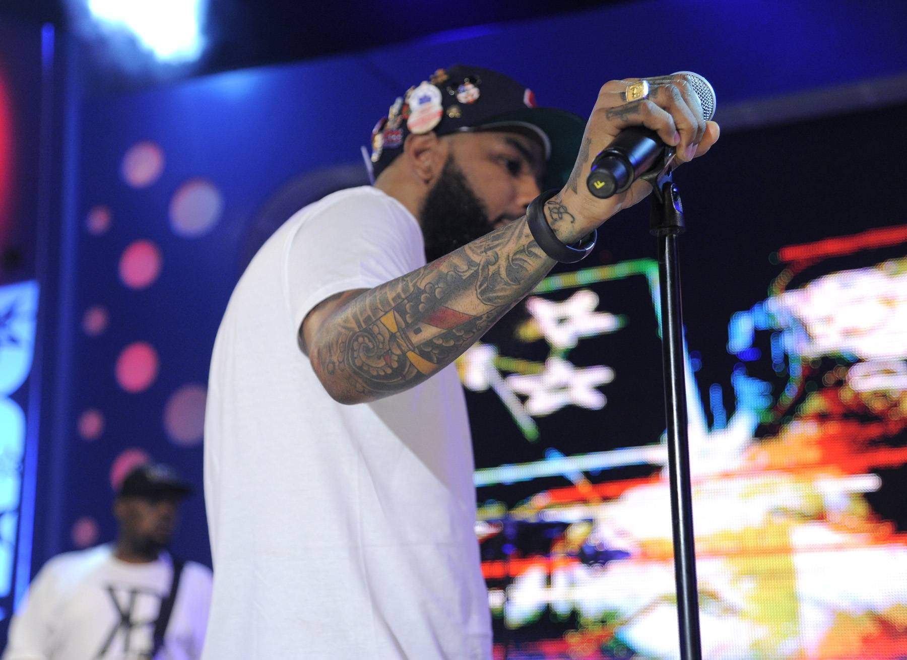 Take a Moment - Stalley of MMG rehearsing before he goes on at 106 & Park, April 17, 2012. (Photo: John Ricard/BET)