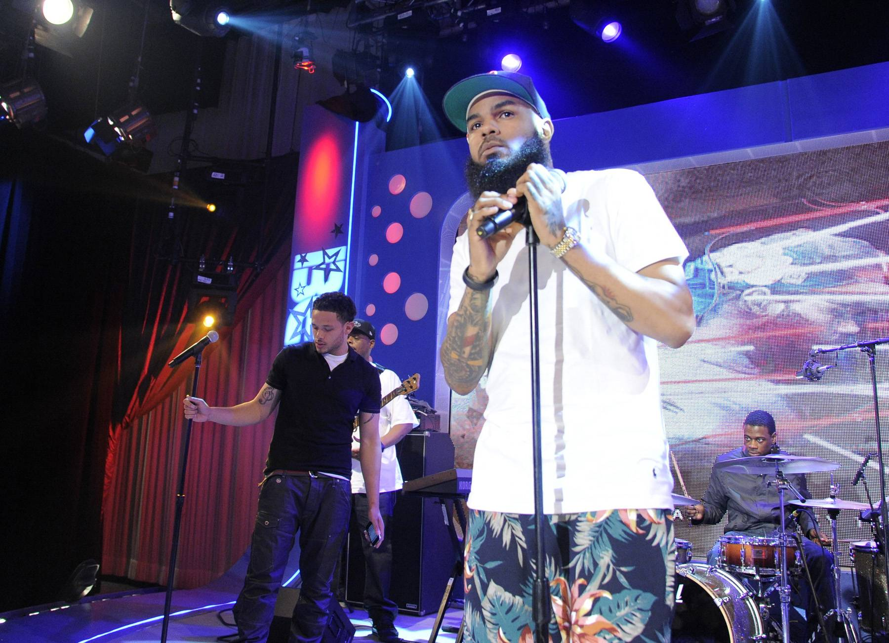 Mic Check - Stalley of MMG rehearsing before he goes on at 106 & Park, April 17, 2012. (Photo: John Ricard/BET)