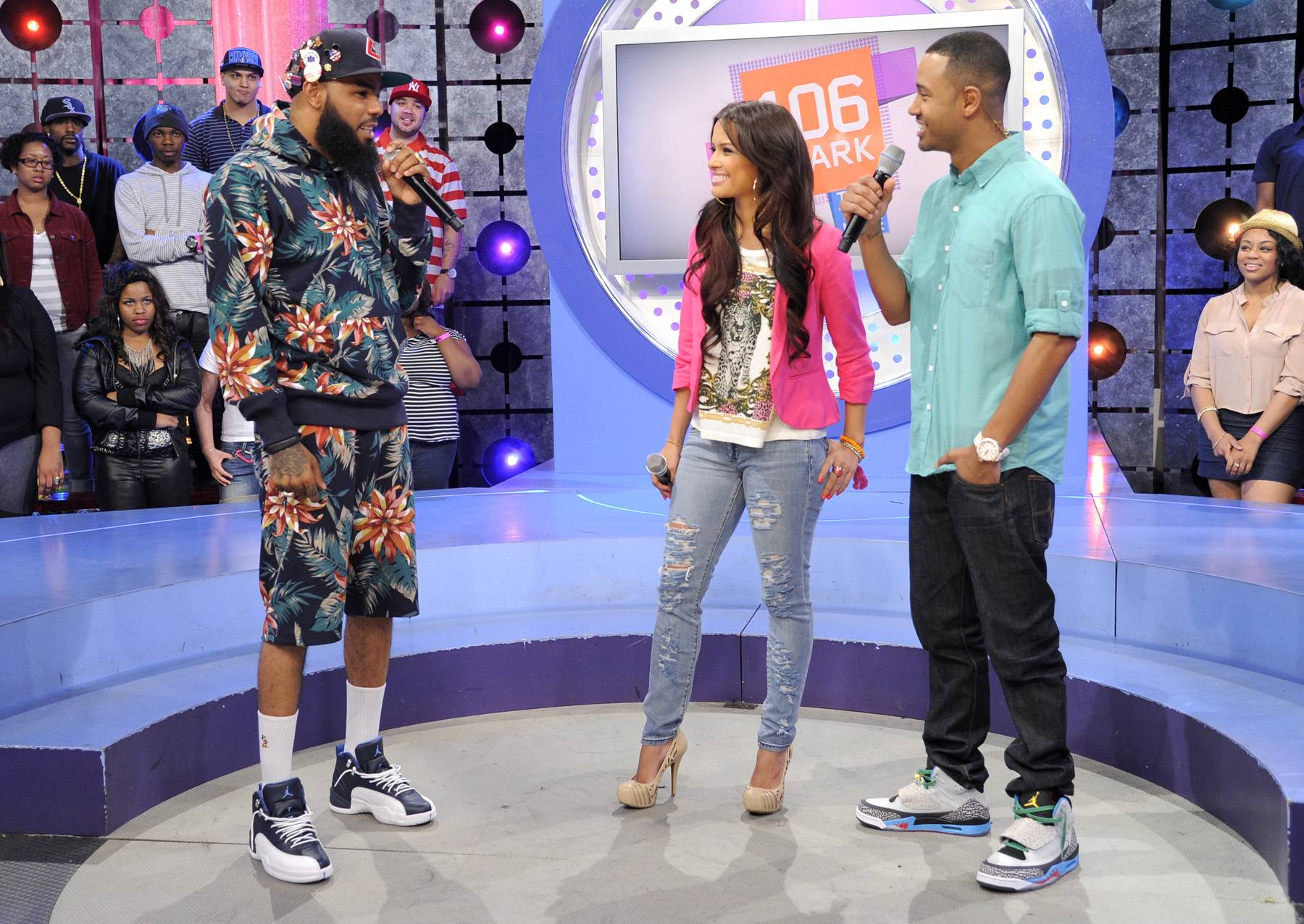 Trained to Go - Stalley of MMG takes the stage with Rocsi Diaz and Terrence J at 106 & Park, April 17, 2012. (Photo: John Ricard/BET)