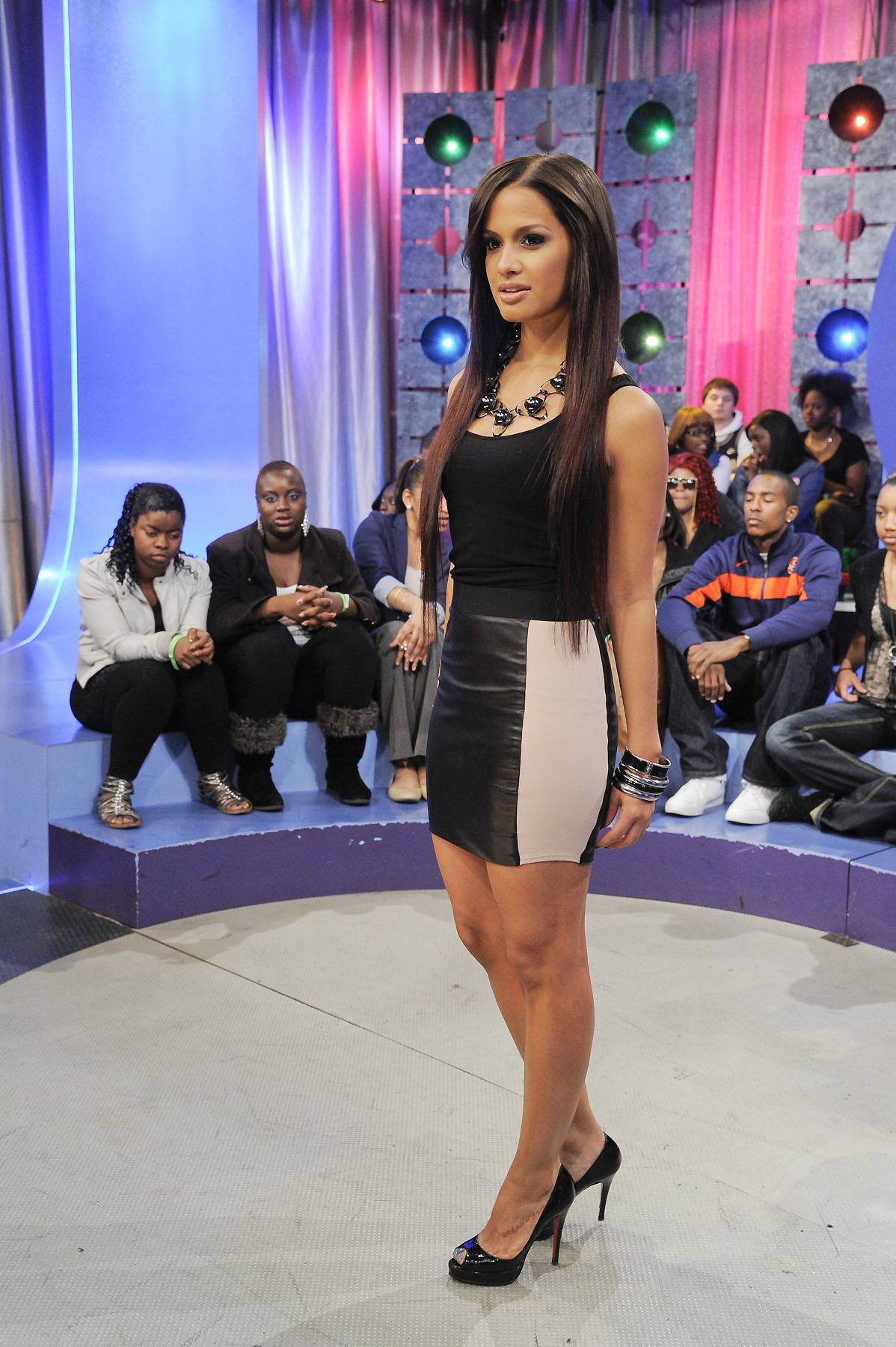 Sleek and Chic - Rocsi shows off her amazingly fit body in this black outfit that had a slight nude accent. She is beach ready!(Photo: John Ricard/BET)