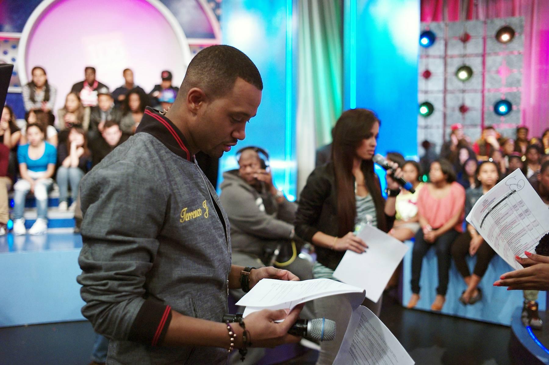 Study Hard - Terrence J reviews show notes at 106 & Park, April 9, 2012. (photo: John Ricard / BET)