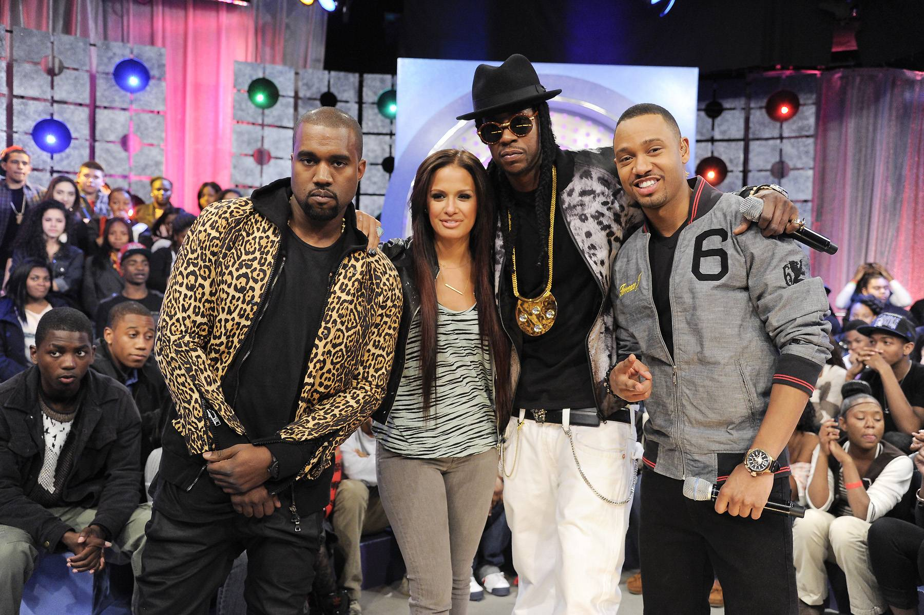 Stay Right There - Kanye West, 2 Chainz, Rocsi Diaz and Terrence J at 106 & Park, April 9, 2012. (photo: John Ricard / BET)