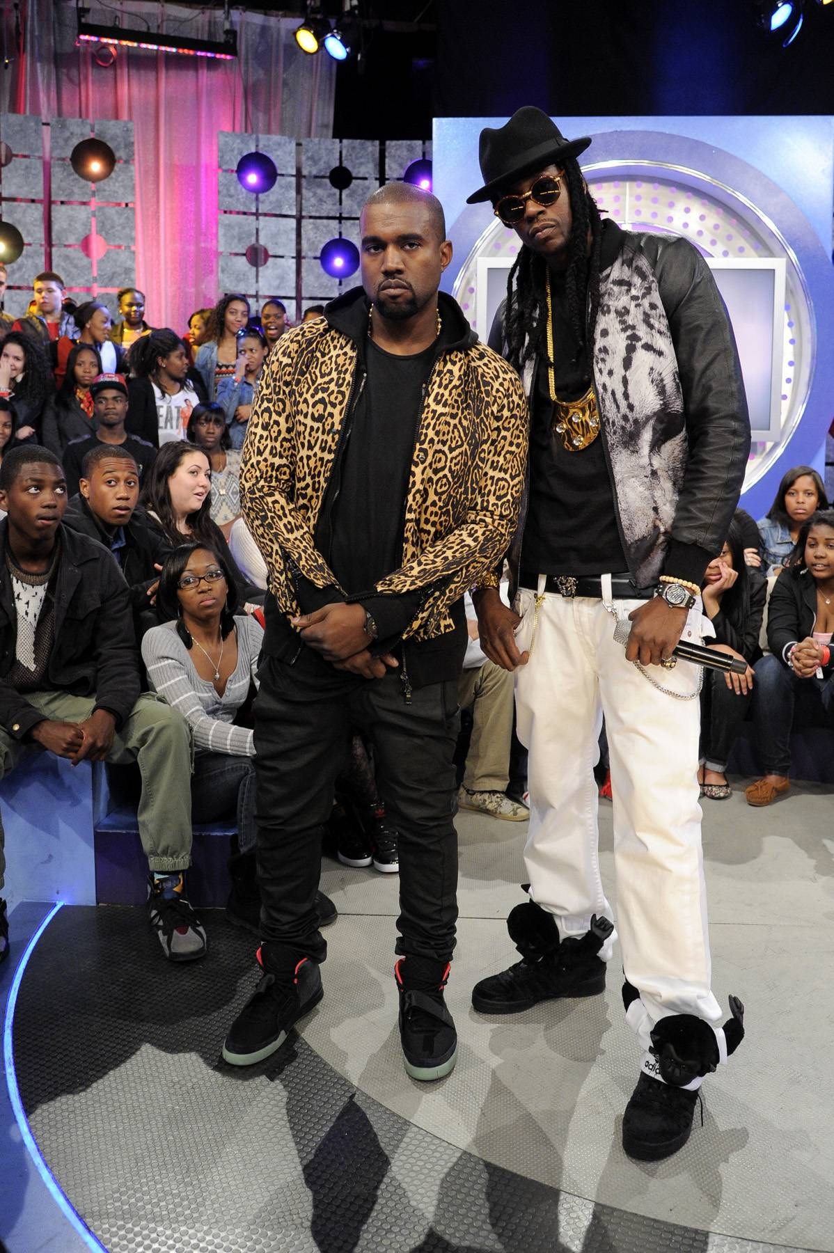 2 Dope - Kanye West and 2 Chainz at 106 & Park, April 9, 2012. (photo: John Ricard / BET)