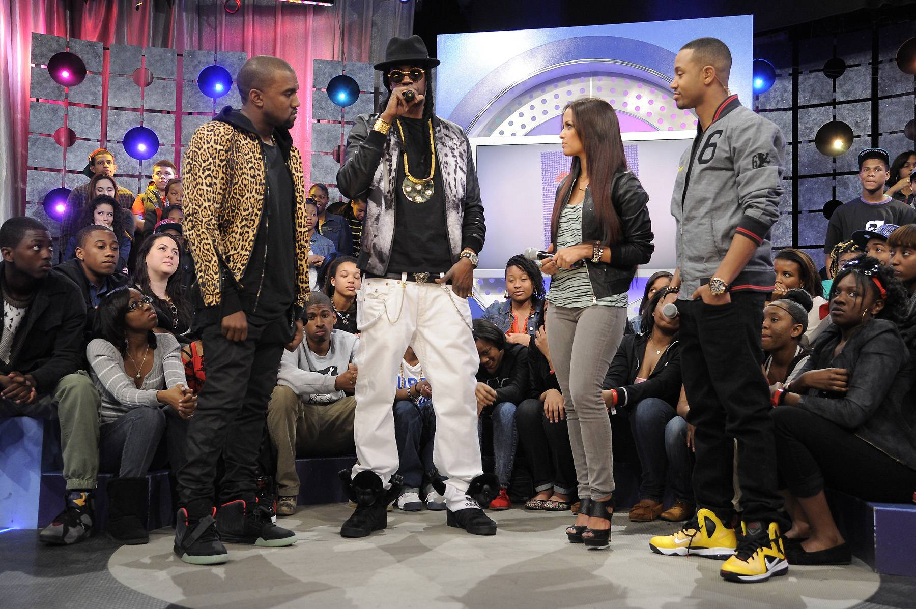 Bout It - Kanye West, 2 Chainz, Rocsi Diaz and Terrence J at 106 & Park, April 9, 2012. (photo: John Ricard / BET)