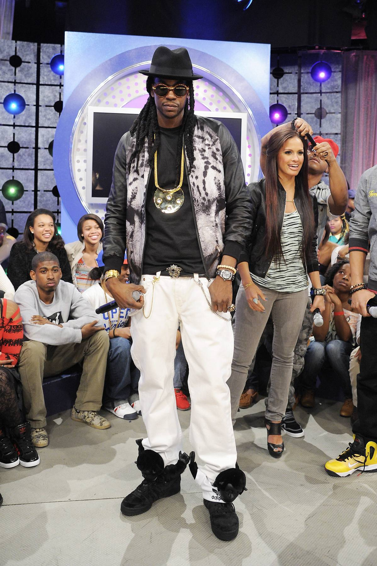 The Crew - Kanye West, 2 Chainz, Rocsi Diaz and Terrence J at 106 & Park, April 9, 2012. (photo: John Ricard / BET).