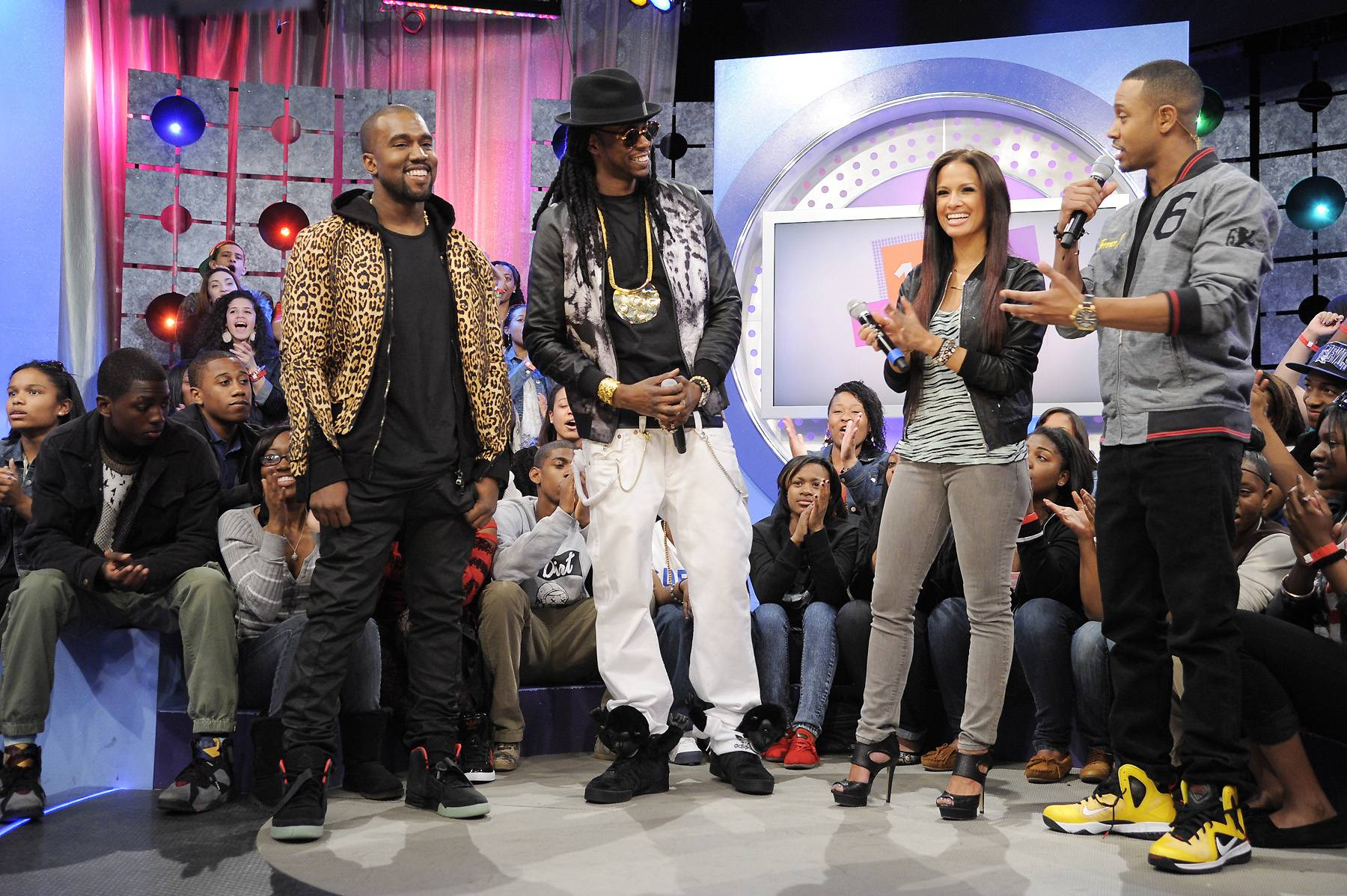 Love It - Kanye West, 2 Chainz, Rocsi Diaz and Terrence J at 106 & Park, April 9, 2012. (photo: John Ricard / BET)
