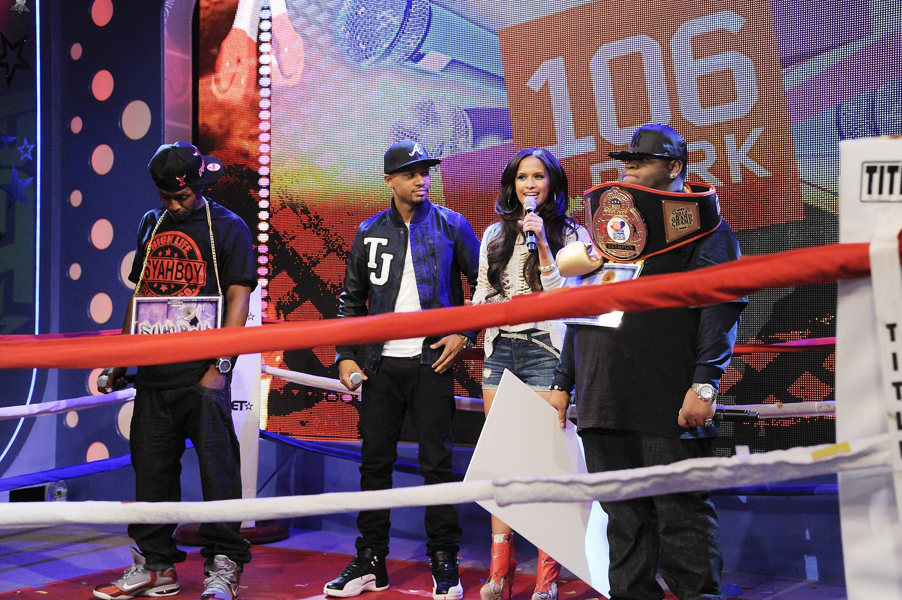 Who Will Take The Win? - Rocsi Diaz and Terrence J speak to Freestyle Friday champion Relly at 106 & Park, April 6, 2012. (photo: John Ricard / BET)