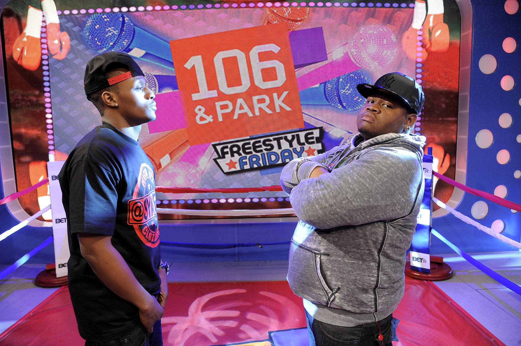 Battle Is On - Freestyle Friday contestants SyahBoy and Relly face off at 106 & Park, April 6, 2012. (photo: John Ricard / BET)