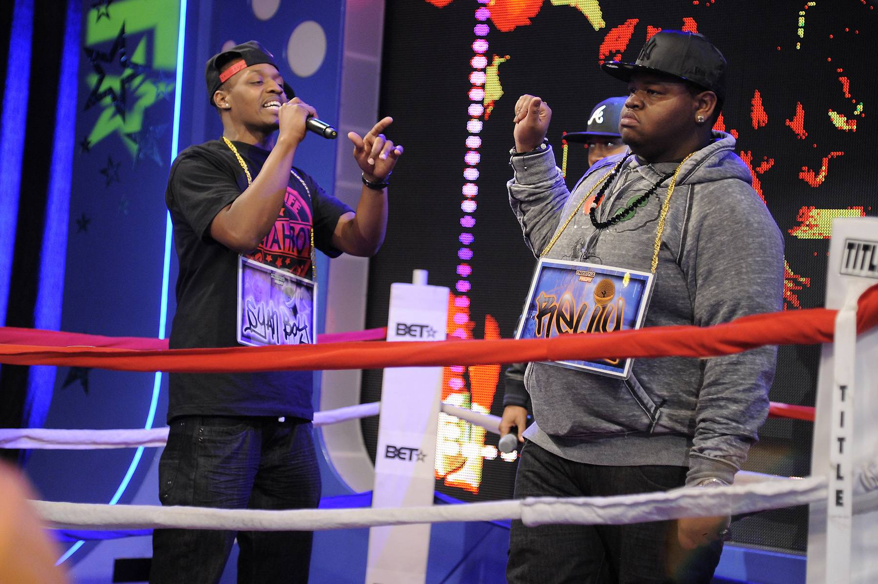 Spitting Fire - Freestyle Friday contestants Syahboy and Relly at 106 & Park, April 6, 2012. (photo: John Ricard / BET)