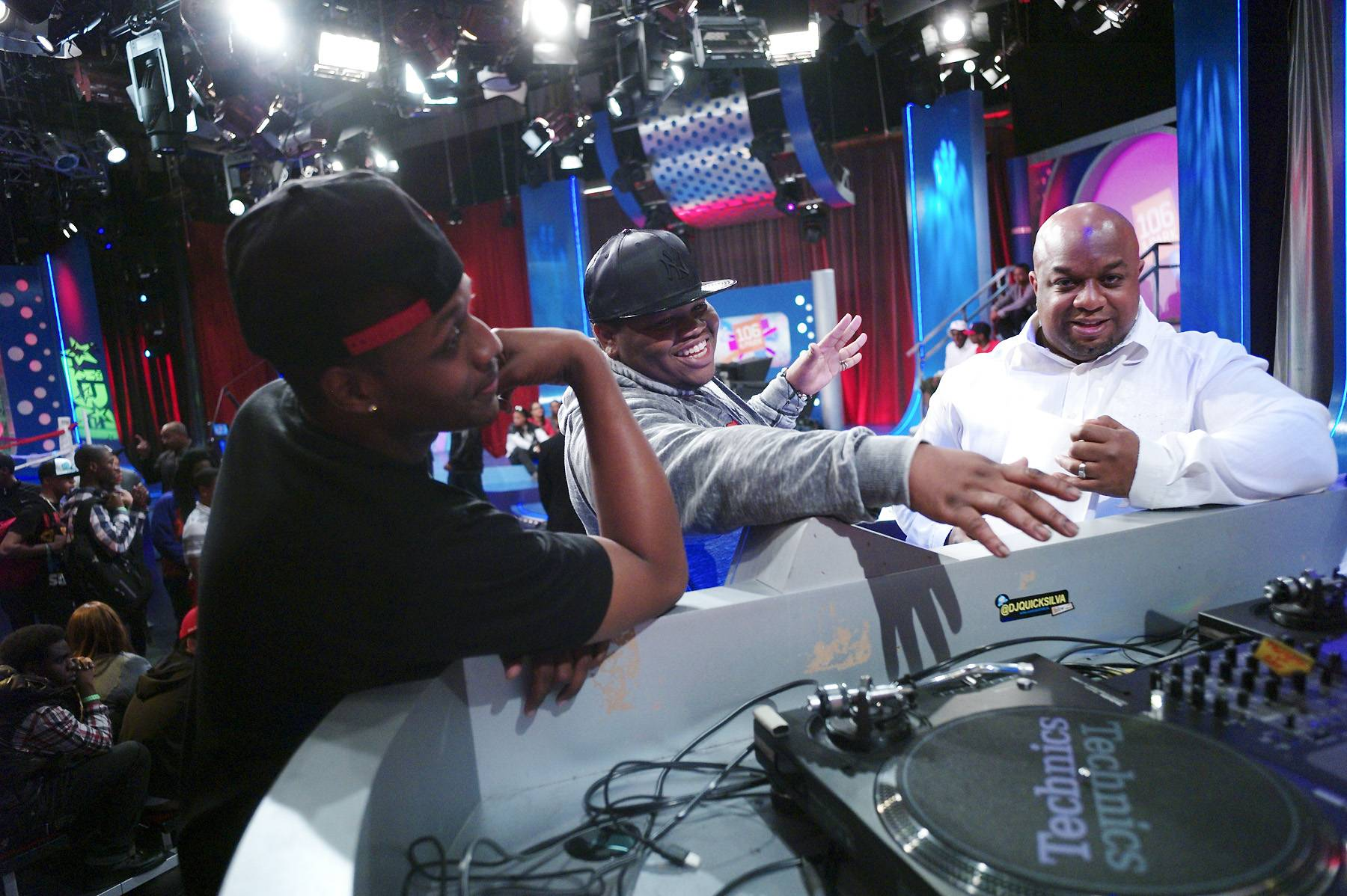 Get Ready - Before their battle, Syahboy and Relly review show notes with segment producer Pat Charles at 106 & Park, April 6, 2012. (photo: John Ricard / BET)