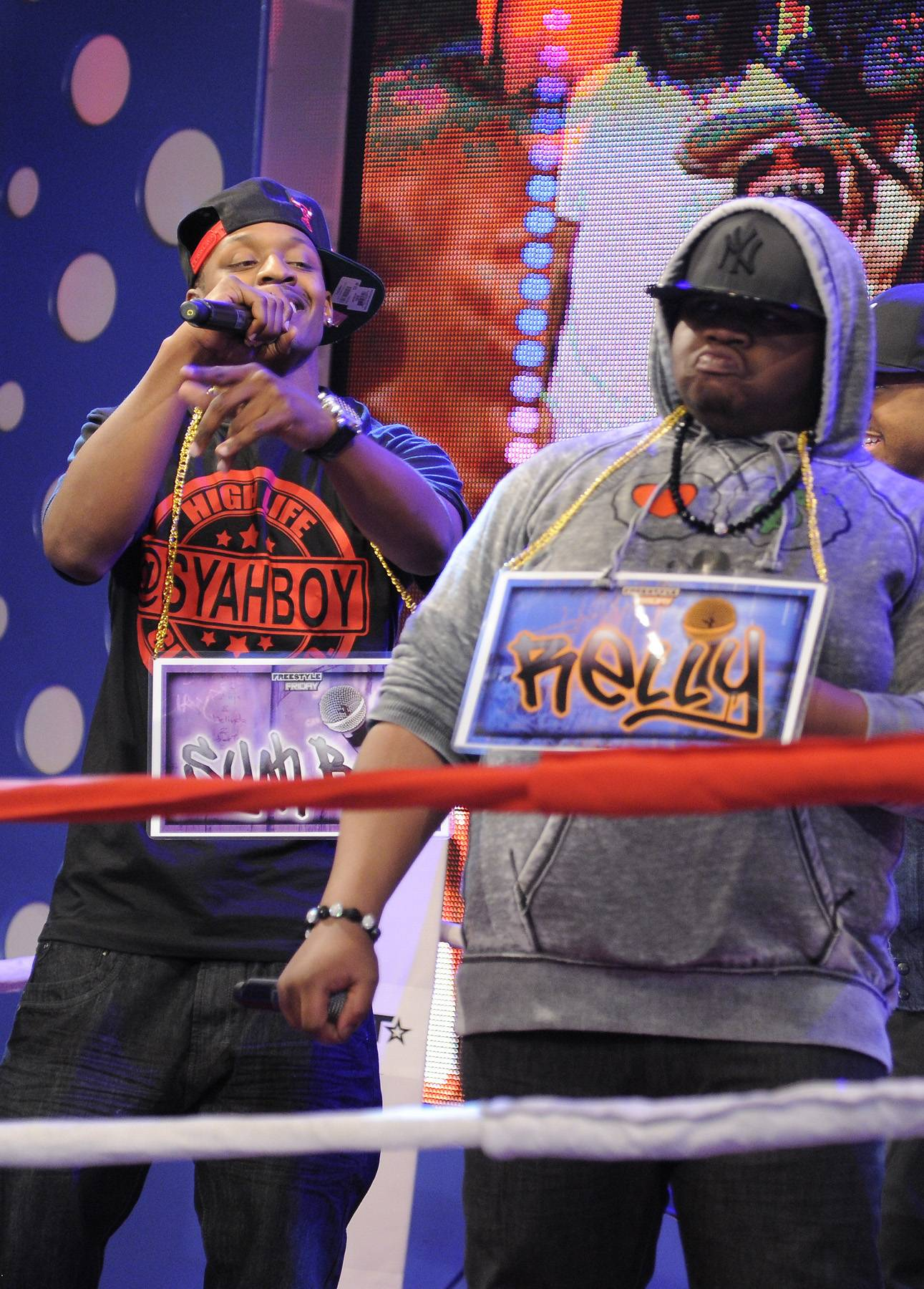 In Ya Face - Freestyle Friday contestant Syahboy goes in on Relly at 106 & Park, April 6, 2012. (photo: John Ricard / BET)