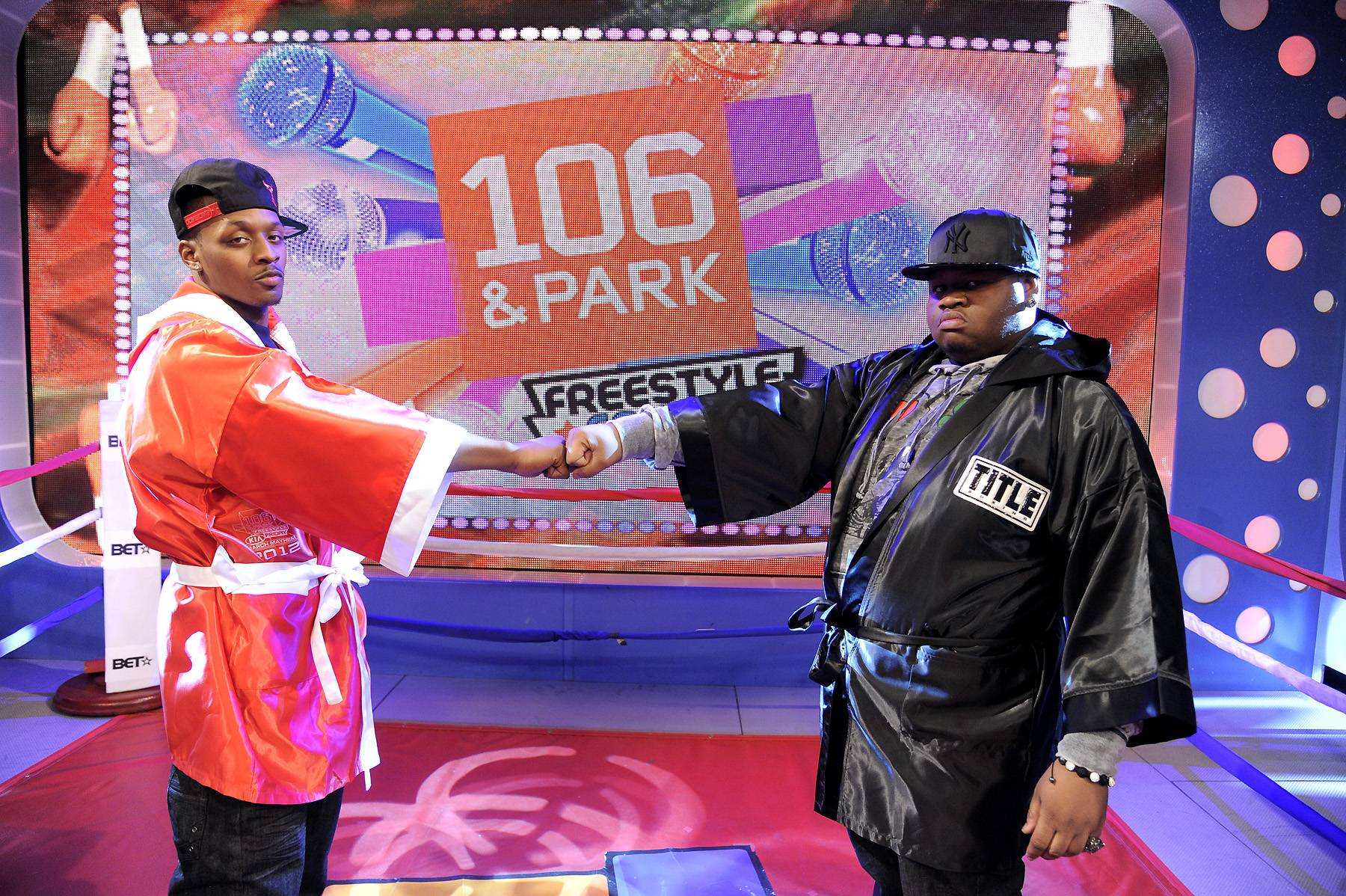The Battle - Freestyle Friday contestants SyahBoy and Relly at 106 & Park, April 6, 2012. (photo: John Ricard / BET)