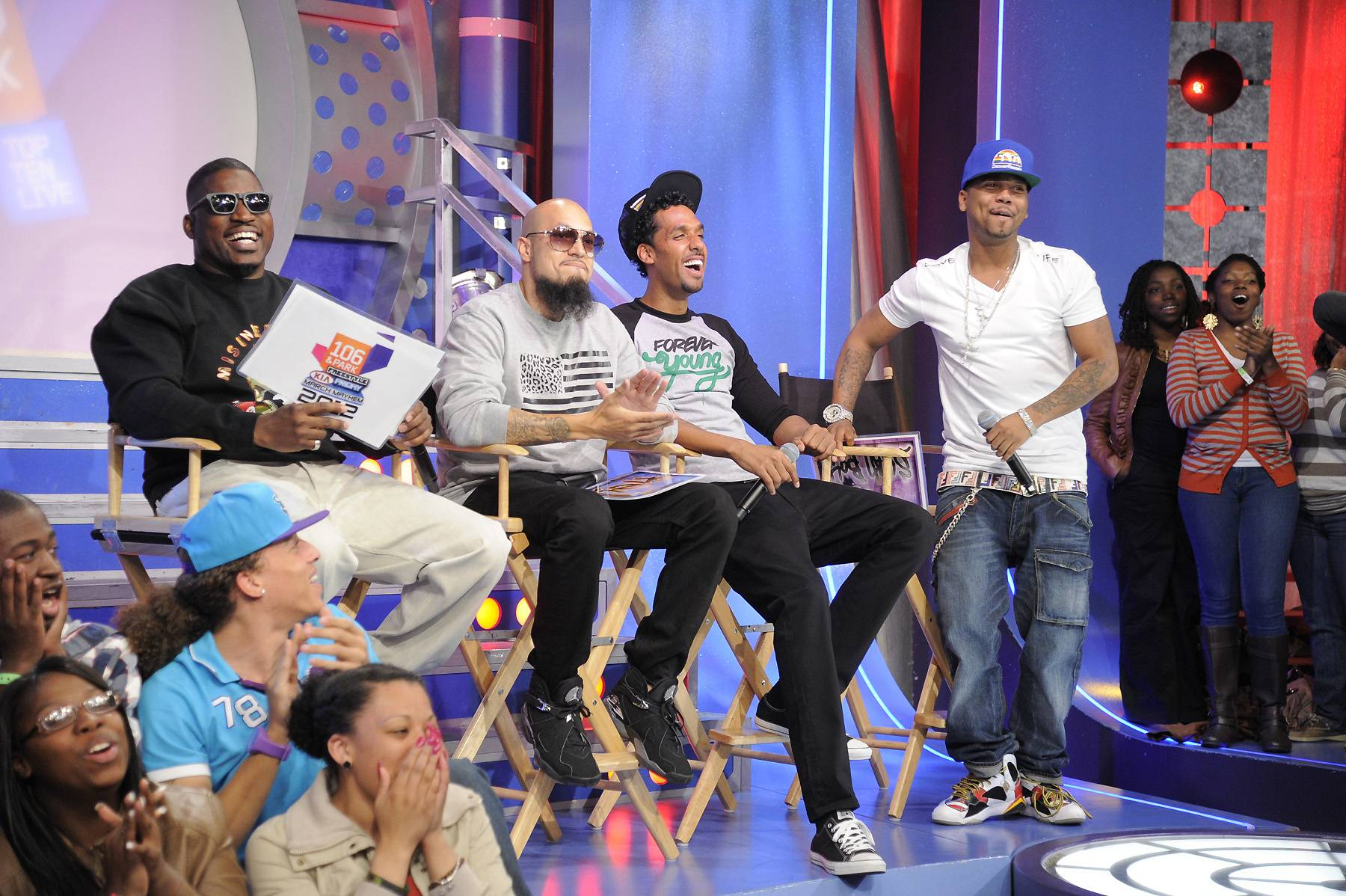 Getting Kinda Heated - Freestyle Friday judges David Banner, Cool and Dre and Juelz Santana at 106 & Park, April 6, 2012. (photo: John Ricard / BET)