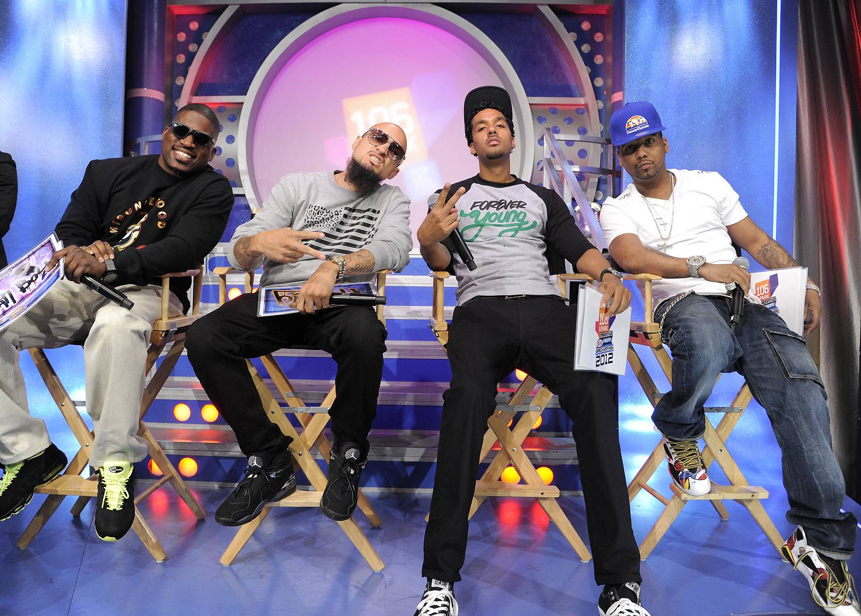 The Judges Are Ready! - Freestyle Friday judges David Banner, Cool and Dre and Juelz Santana at 106 & Park, April 6, 2012. (photo: John Ricard / BET)