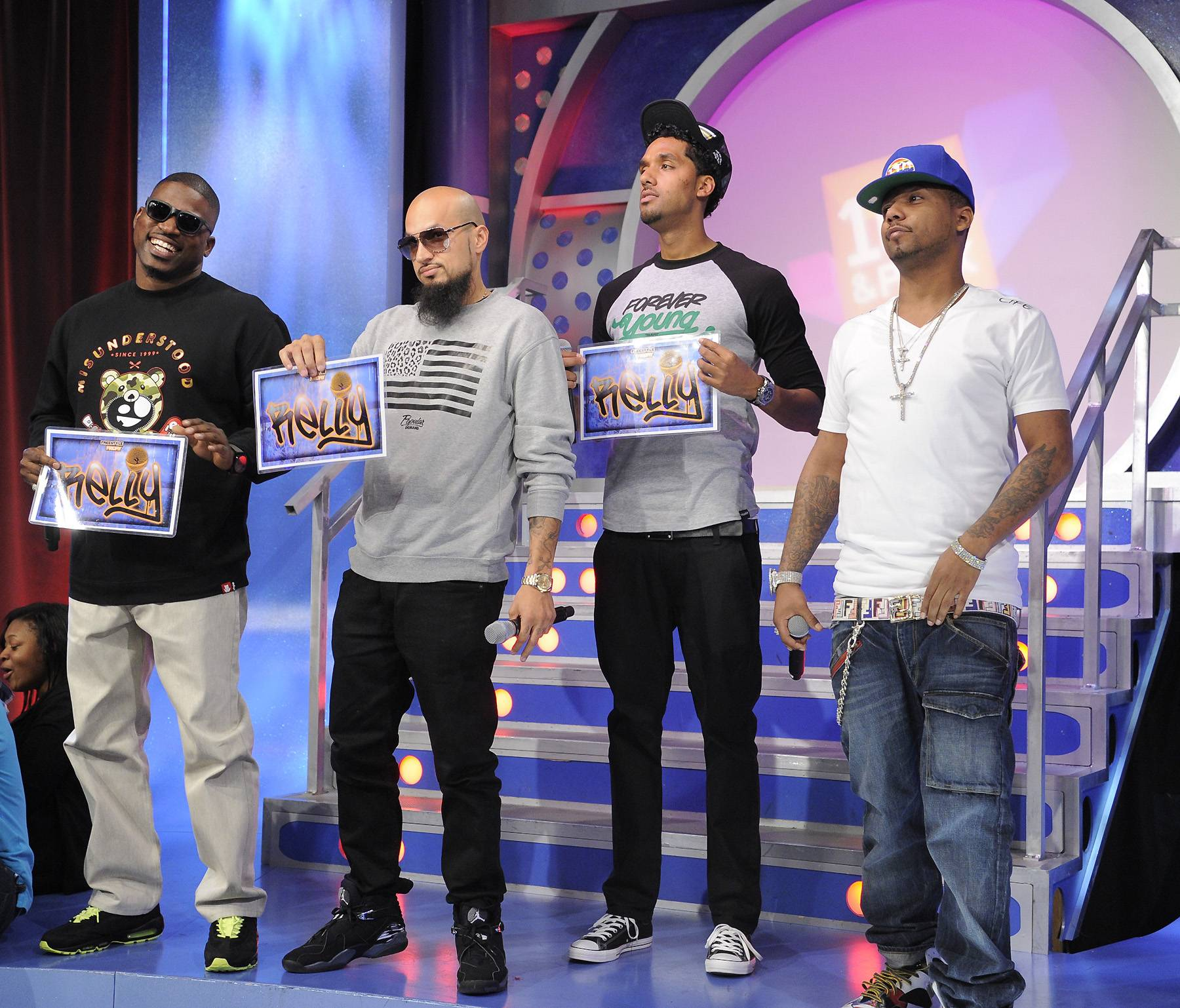 Survey Says, Relly! - Freestyle Friday judges David Banner, Cool and Dre and Juelz Santana at 106 & Park, April 6, 2012. (photo: John Ricard / BET)