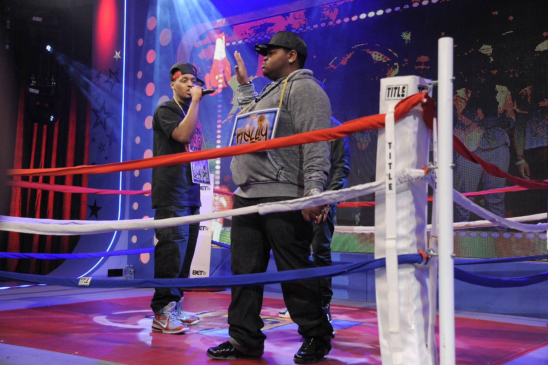 Can't Get Enough - Freestyle Friday contestants Syahboy and Relly at 106 & Park, April 6, 2012. (photo: John Ricard / BET)