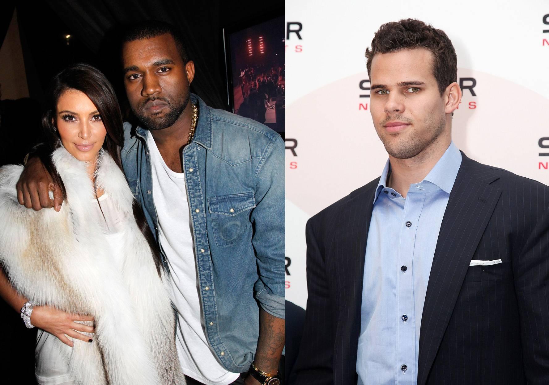 Kim Kardashian Kanye West and Kris Humphries
