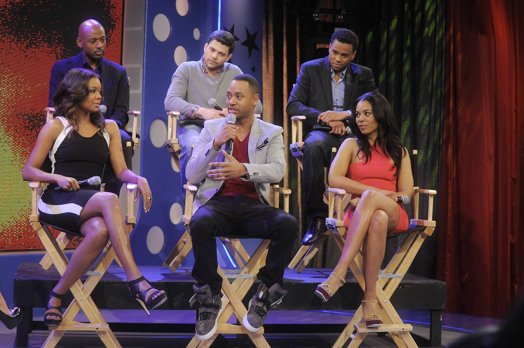 """The Cast of Think Like A Man - Gabrielle Union, Terrence J, Regina Hall, Romany Malco, Jerry Ferrara and Michael Ealy of """"Think Like a Man"""" at 106 & Park, April 5, 2012. (photo: John Ricard / BET)"""