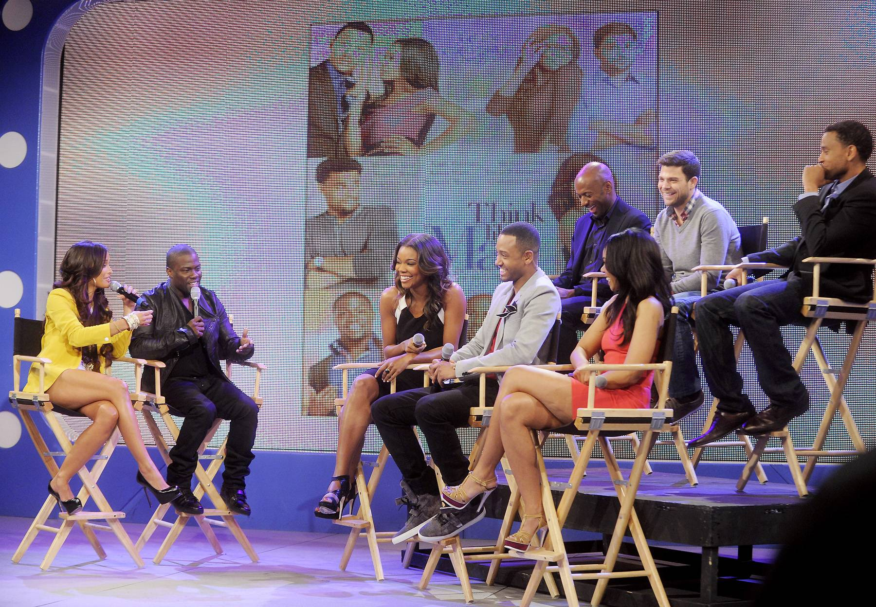 "The Cast of Think Like A Man - Rocsi Diaz and Kevin Hart interview the cast of ""Think Like a Man"" at 106 & Park, April 5, 2012. (photo: John Ricard / BET)"