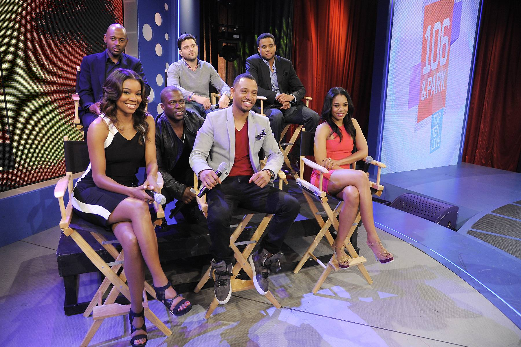 """The Cast of Think Like A Man - Gabrielle Union, Kevin Hart, Terrence J, Regina Hall, Romany Malco, Jerry Ferrara and Michael Ealy of """"Think Like a Man"""" at 106 & Park, April 5, 2012. (photo: John Ricard / BET)"""