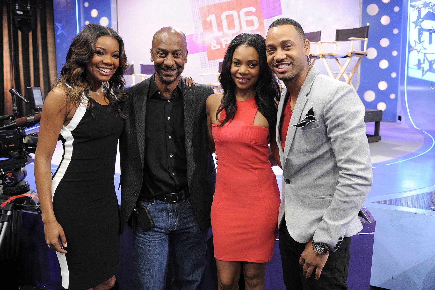 Gabrielle Union, Stephen Hill, Regina Hall and Terrence J - Gabrielle Union, Stephen Hill, Regina Hall and Terrence J at 106 & Park, April 5, 2012. (photo: John Ricard / BET)