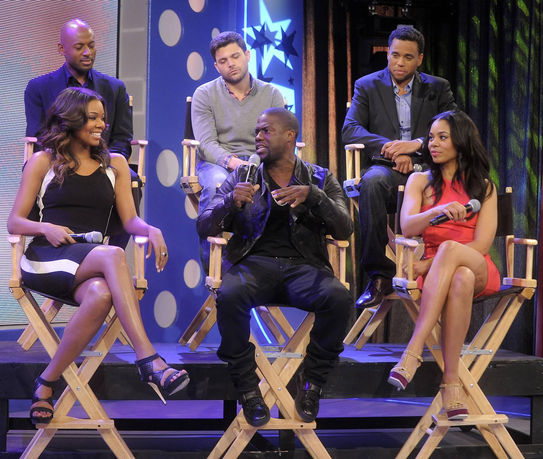 "The Cast of Think Like A Man - Gabrielle Union, Kevin Hart, Regina Hall, Romany Malco, Jerry Ferrara and Michael Ealy of ""Think Like a Man"" at 106 & Park, April 5, 2012. (photo: John Ricard / BET)"