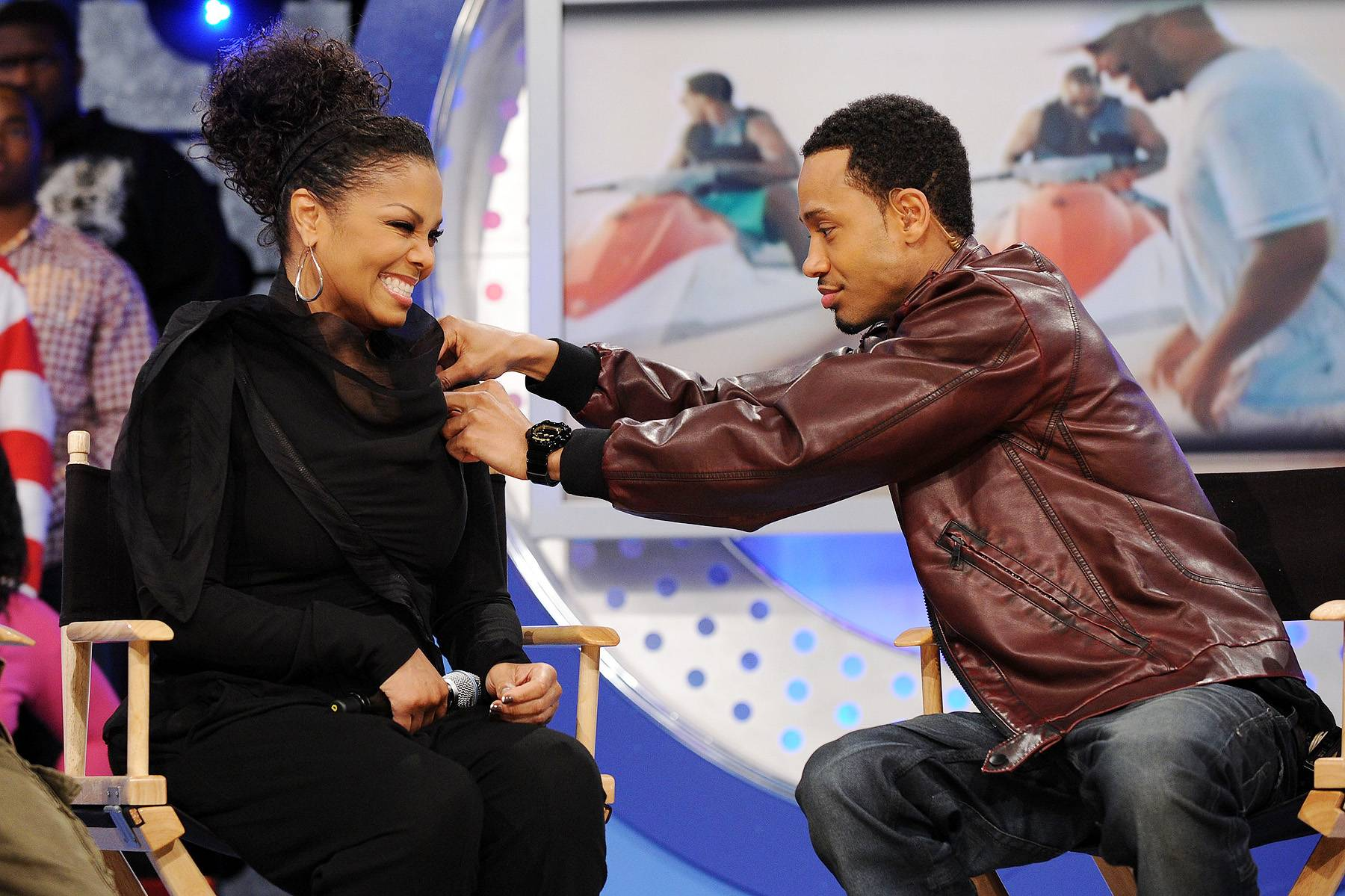 Helping Janet - Janet Jackson dropped by the 106 studios and Terrence J helped keep her on point by helping her fix her outfit a little bit. Gotta love him.(Photo: Bryan Bedder/Getty Images)