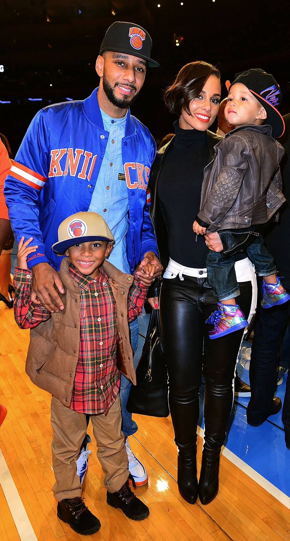 """Swizz Beatz and Alicia Keys - Swizz Beatz and his wife Alicia Keys often go to Knicks games for some good old fashion family time, perhaps complete with a sing-a-long when Mommy's song, """"Emprire State of Mind,"""" comes blaring through the speakers.(Photo: James Devaney/FilmMagic)"""