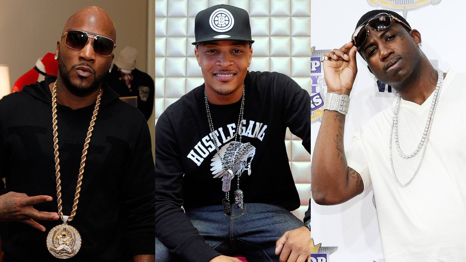 """T.I. - Tip played it cool when asked about the renewed beef between his frequent collaborator Young Jeezy and Gucci Mane. """"I got my mind set on a big sack with a lot of money in it,"""" T.I. said. """"Anything not of that understanding and of that nature, I don't really see it. So I don't really know what you're asking me about it.""""  (Photos from left: Ben Rose/WireImage for AKOO Clothing, John Ricard / BET, Jemal Countess/Getty Images)"""