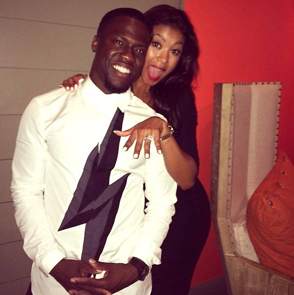 """Eniko Parrish - Funny man Kevin Hart's sweet engagement announcementon Instagramsays it all: """"She said YEEEEESSSSS...... #Happy #MyRib #iF--kingLoveHer""""   Enaged on August 18, 2014, Eniko Parrish, his girlfriend of five years, is proudly flaunting what appears to be a large center diamond sitting on a band encrusted with smaller diamonds. Lovely! (Photo: Kevin Hart via Instagram)"""