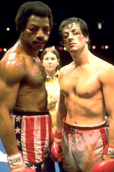 Carl Weathers - Carl Weathers?s professional career as a linebacker with the Oakland Raiders in the 1970s was brief, but his role in one of Hollywood?s most iconic films cemented his status as a pop culture icon. He most famously starred as Apollo Creed, Rocky Balboa?s nemesis-turned-comrade in the Rocky movies.(Photo: United Artist Pictures)