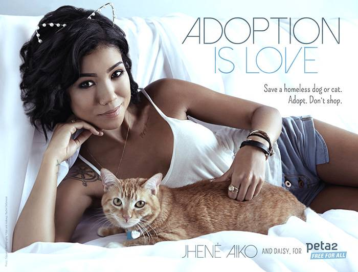 Jhen? Aiko for PETA 2 - Jhen? Aiko isn't just busy with music, she's also busy being the face of PETA 2. In an interview with the animal rights organization, Aiko states that her 5-year-old daughter inspired her to adopt a cat instead of buying a new pet and wants to encourage other people to do the same. Aiko is featured in the ad with her orange tabby.   (Photo: PETA2)