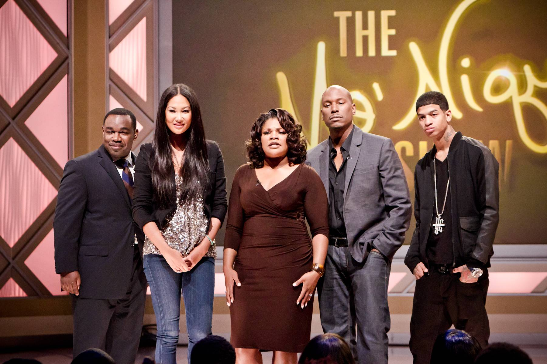 Farewell to Another Great Episode! - From left: Rodney Perry, Kimora Lee Simmons, Mo'Nique, Tyrese and YC.(Photo: Darnell Williams/BET)