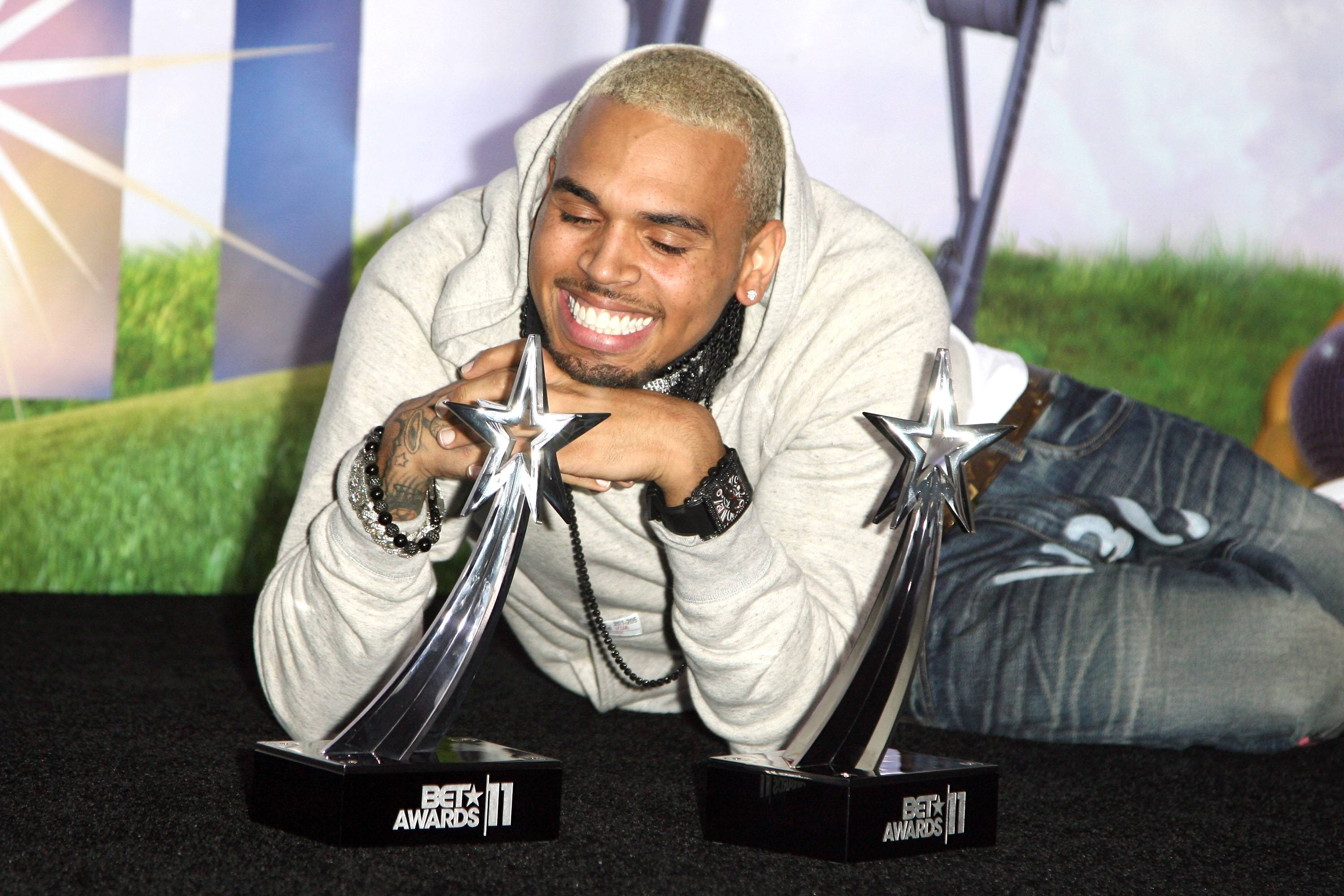 """Chris Brown (@chrisbrown) - His incredible year in music just keeps on going. CB announced his next single via Twitter, asking for a little promotional help frome the ladies.TWEET: """"LADIES.. make sure yall request """"WET THE BED"""" at your local radio stations.. NEXT SINGLE.""""(Photo: Maury Phillips/WireImage)"""