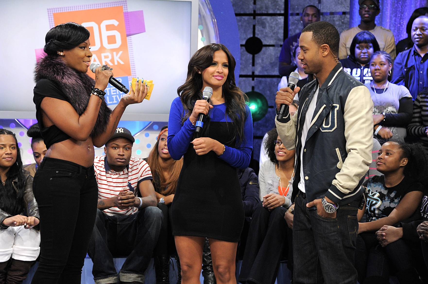In Beast Mode - Dawn Richard with Rocsi Diaz and Terrence J at 106 & Park, January 05, 2012. (Photo: John Ricard/BET)