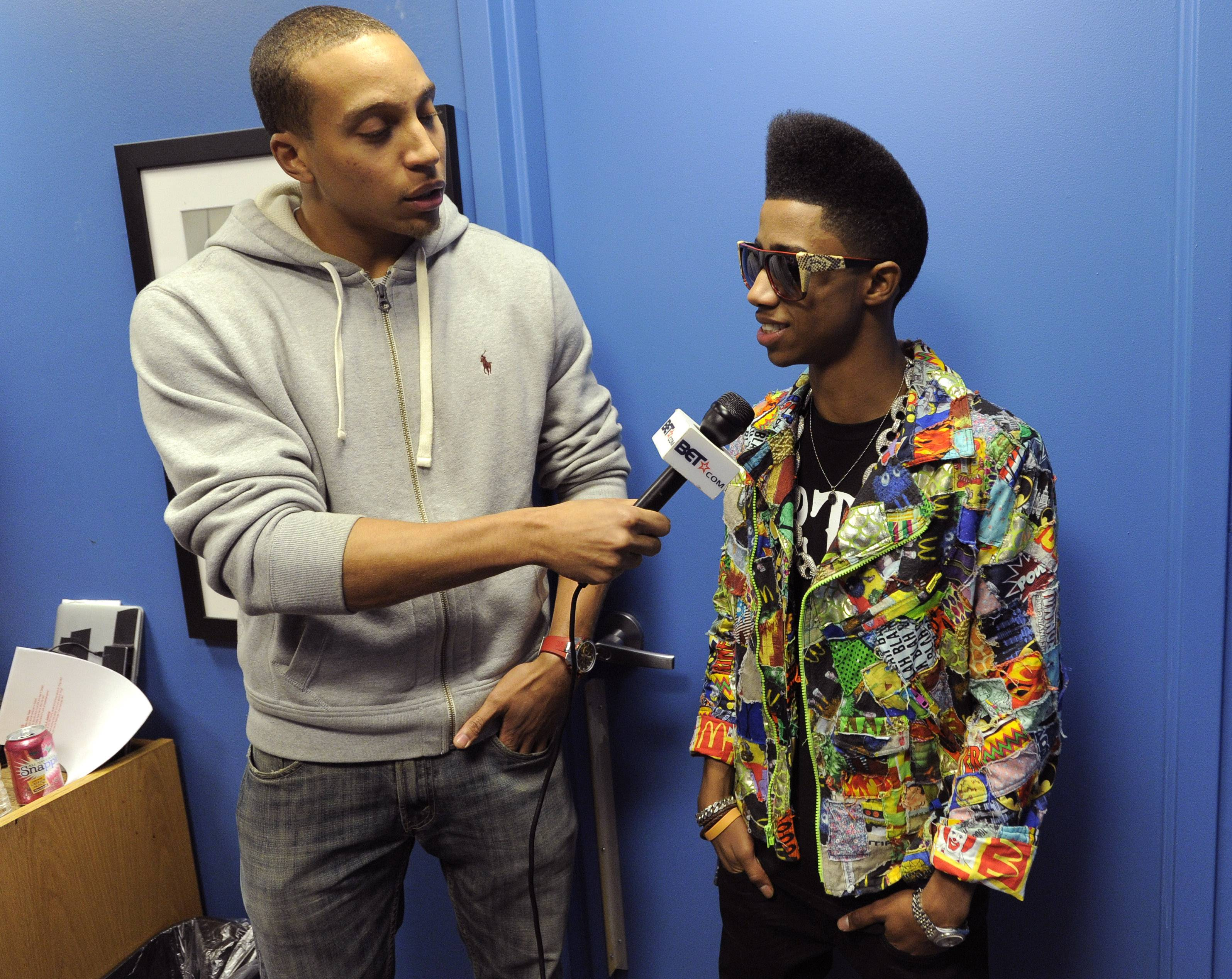 Nice Shades - Lil Twist talks to Tony Anderson of BET.com in the green room at 106 & Park, January 05, 2012.(Photo: John Ricard/BET)