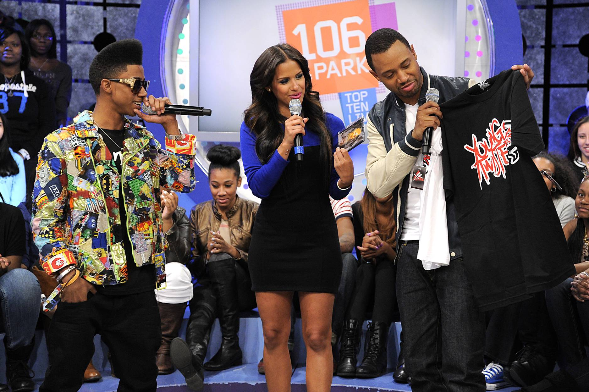 A Gift for You - Lil Twist offers gifts to Rocsi Diaz and Terrence J at 106 & Park, January 05, 2012.(Photo: John Ricard/BET)