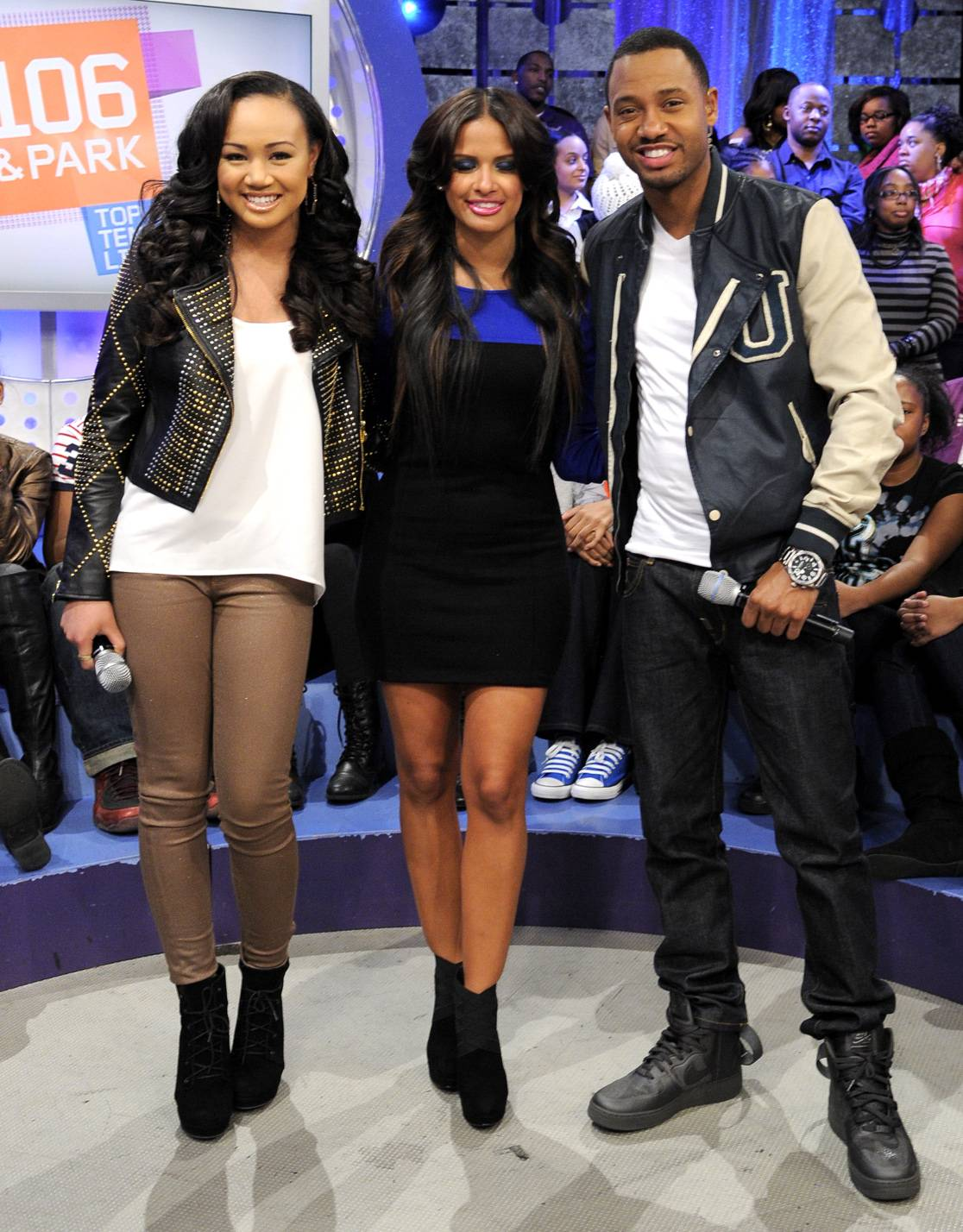 Talented - Cymphonique with Terrence J and Rocsi Diaz at 106 & Park, January 05, 2012.(Photo: John Ricard/BET)