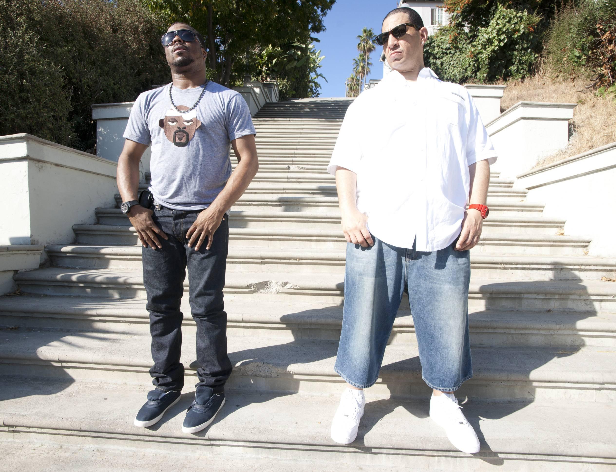 L.A., L.A. - Kid Capri and Just Blaze greet the finalists. (Photo: Moses Mitchell/BET)