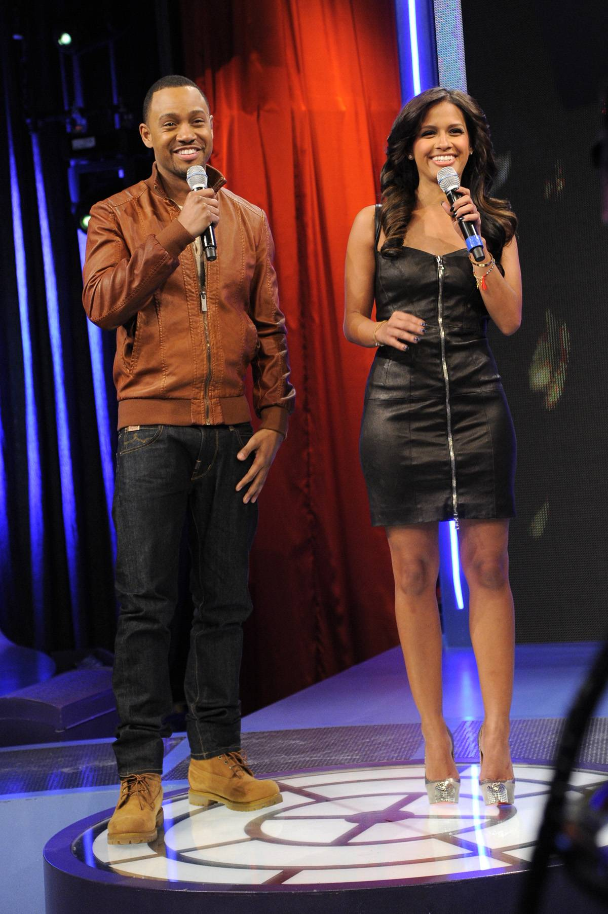 Welcome Back - Terrence J and Rocsi Diaz at 106 & Park, January 3, 2012. (Photo: John Ricard / BET)