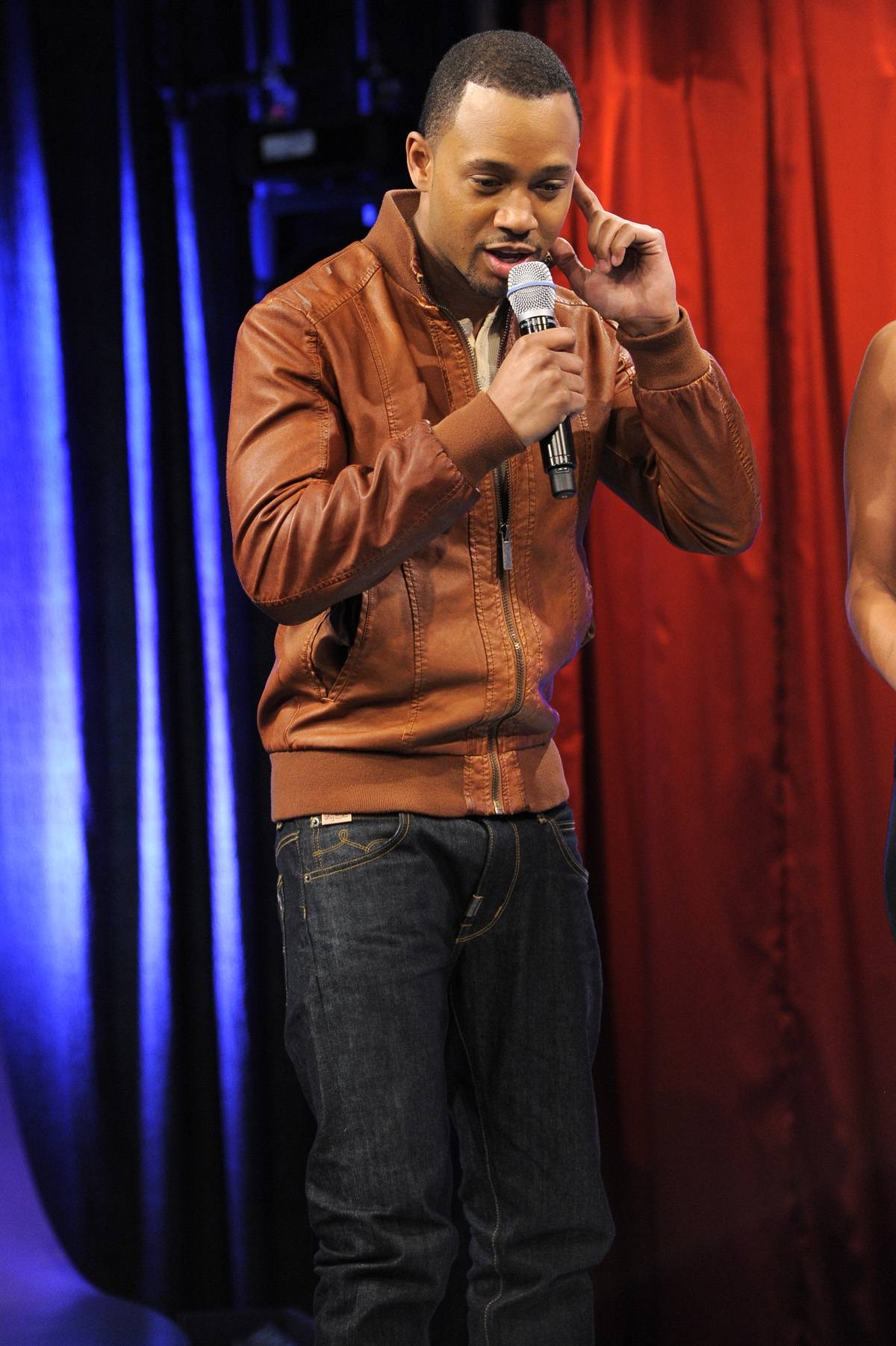 What Was That? - Terrence J tells the audience he has received a special announcement about Beyonc? at at 106 & Park, January 3, 2012. (Photo: John Ricard / BET)