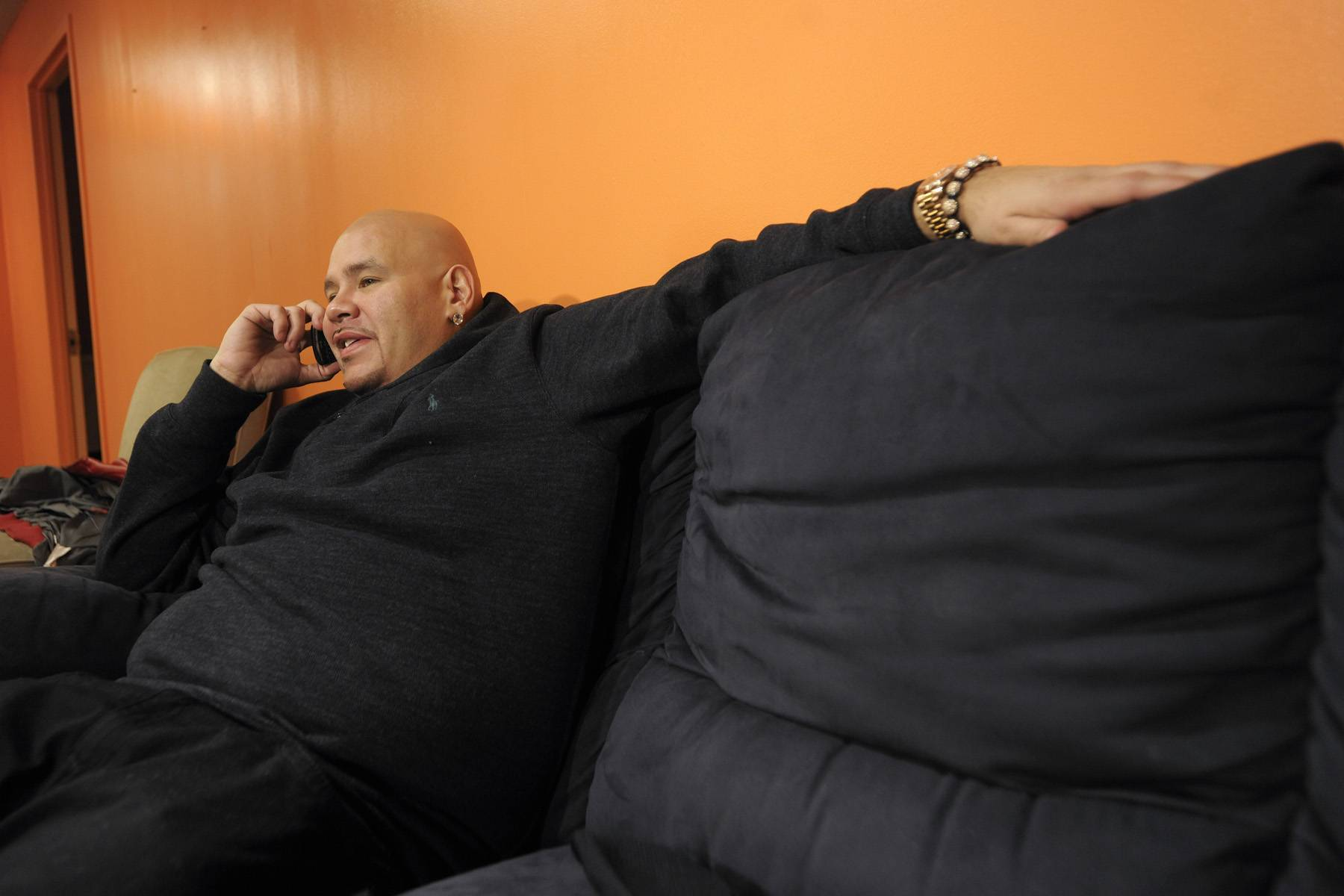 Hold on Please - Fat Joe in the green room at 106 & Park, January 3, 2012. (Photo: John Ricard / BET)