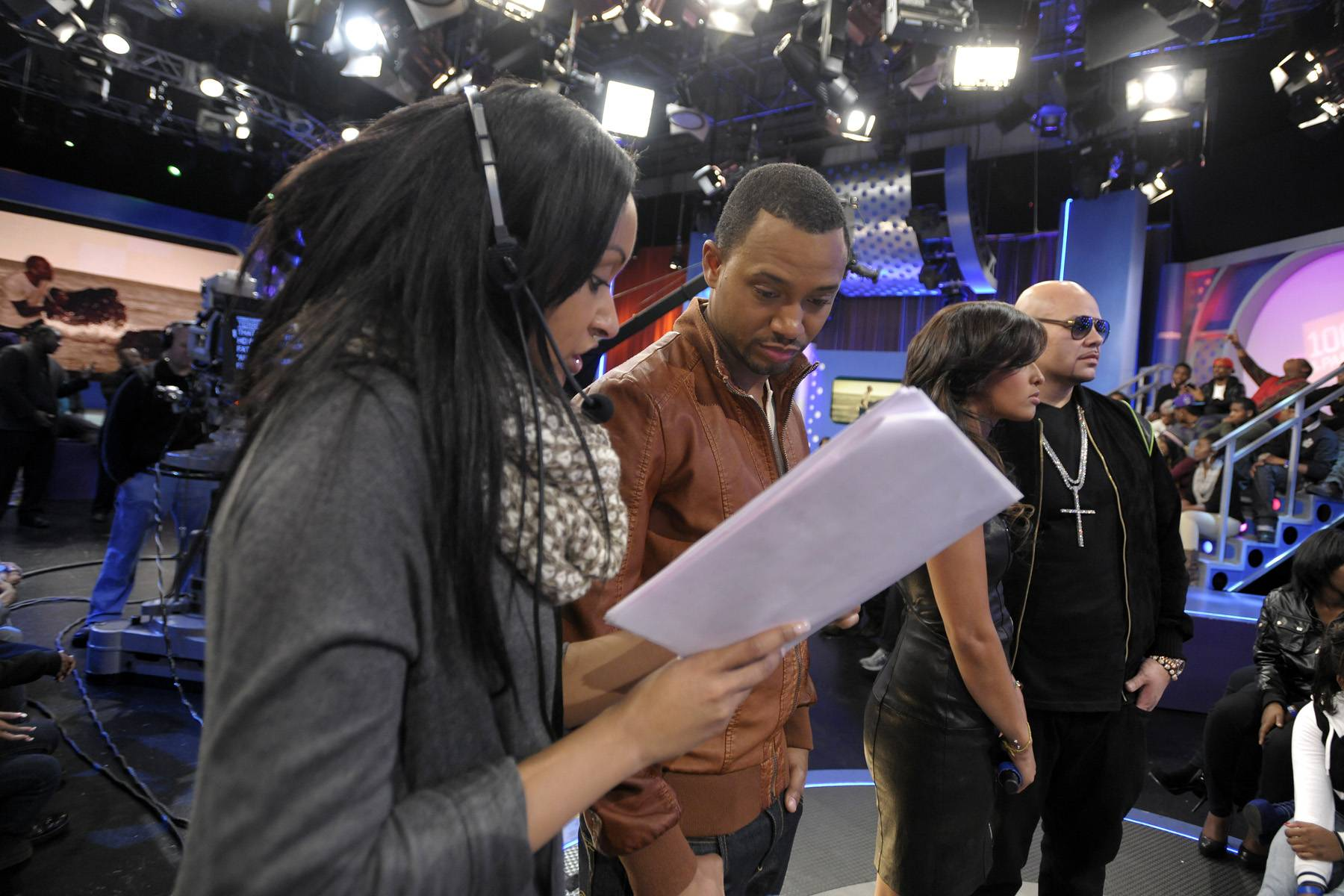 Check This Out - Show producer Stasia reviews notes with Terrence J while Rocsi Diaz and Fat Joe check out Fat Joe's new video at 106 & Park, January 3, 2012. (Photo: John Ricard / BET)