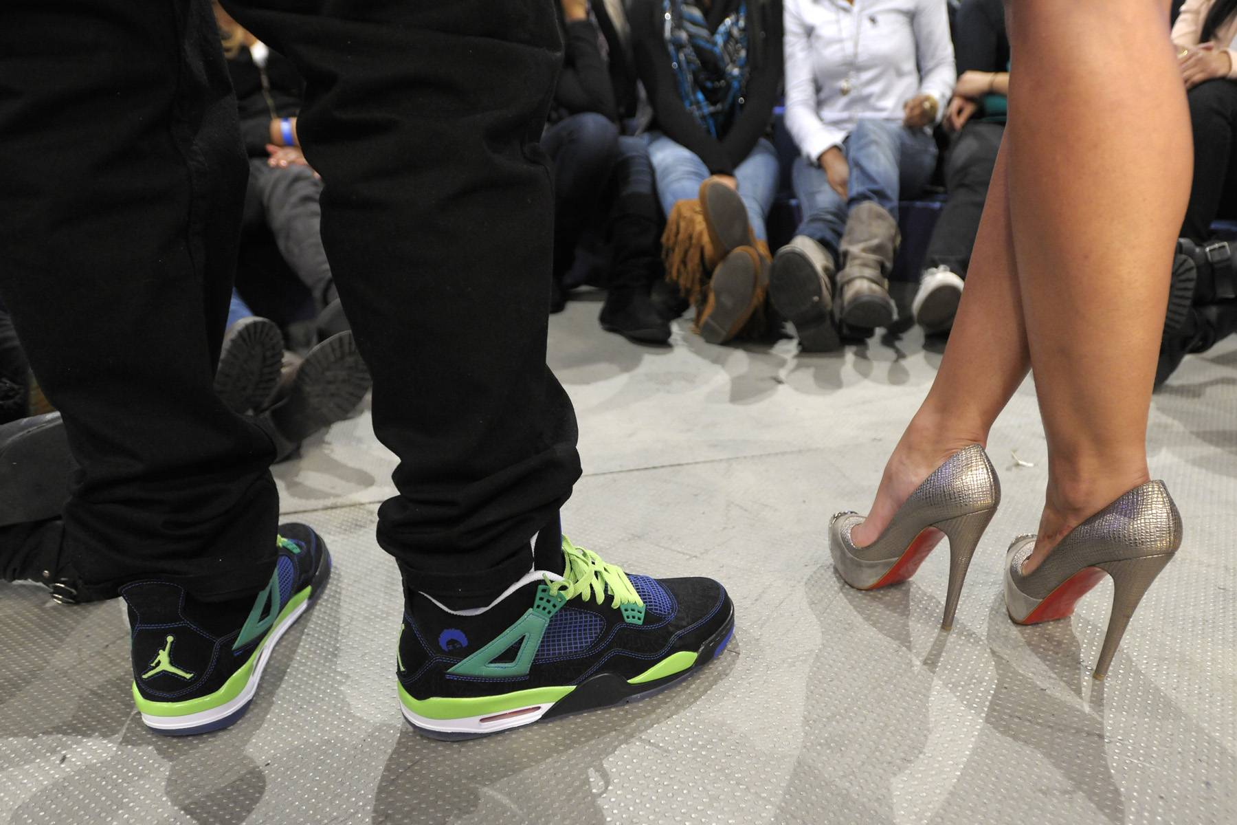 Shoe Game - Fat Joe and Rocsi Diaz rocking some very different footwear at 106 & Park, January 3, 2012. (Photo: John Ricard / BET)