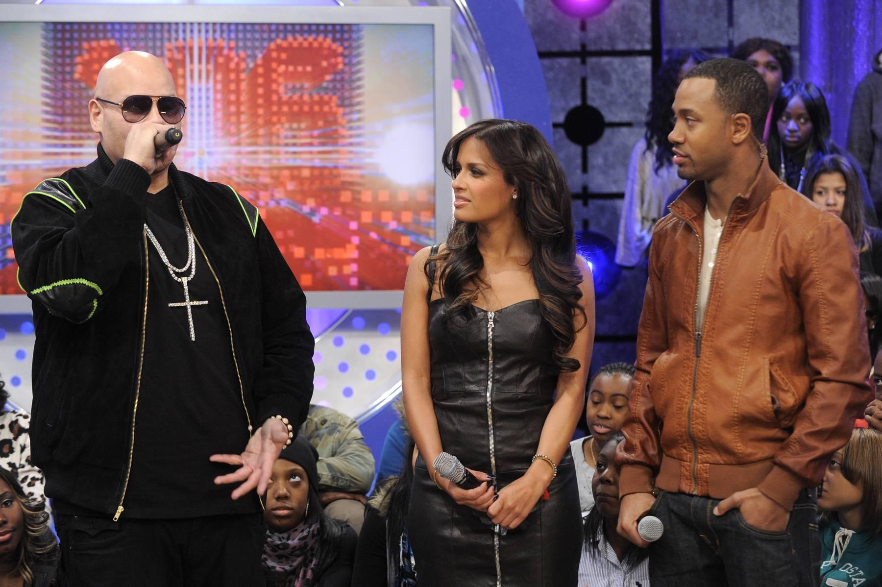 Love the Game - Fat Joe with Rocsi Diaz and Terrence J at 106 & Park, January 3, 2012. (Photo: John Ricard / BET)